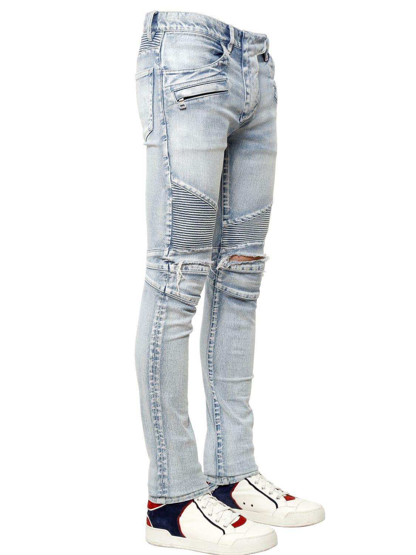9981a26e Balmain 17Cm Destroyed Stretch Denim Biker Jeans in Blue for Men - Lyst
