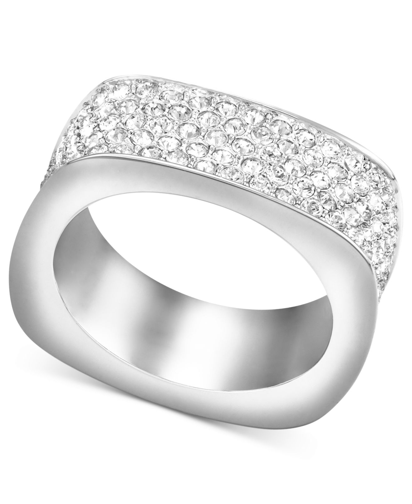183d89fe9cee Lyst - Swarovski Rhodium-plated Pave Crystal Square Ring in White