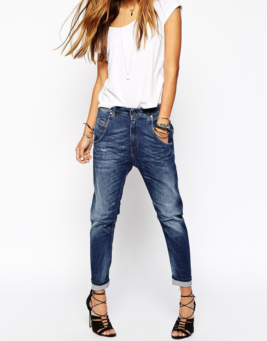 diesel fayza boyfriend jeans in blue lyst. Black Bedroom Furniture Sets. Home Design Ideas