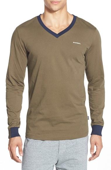 Lyst diesel justin long sleeved v neck t shirt in green for Mens diesel v neck t shirts