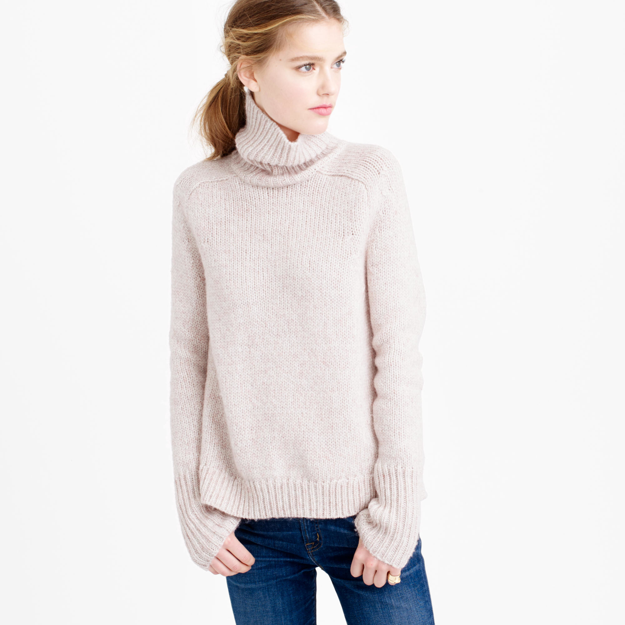 J.crew Marled Classic Turtleneck Sweater in Pink | Lyst