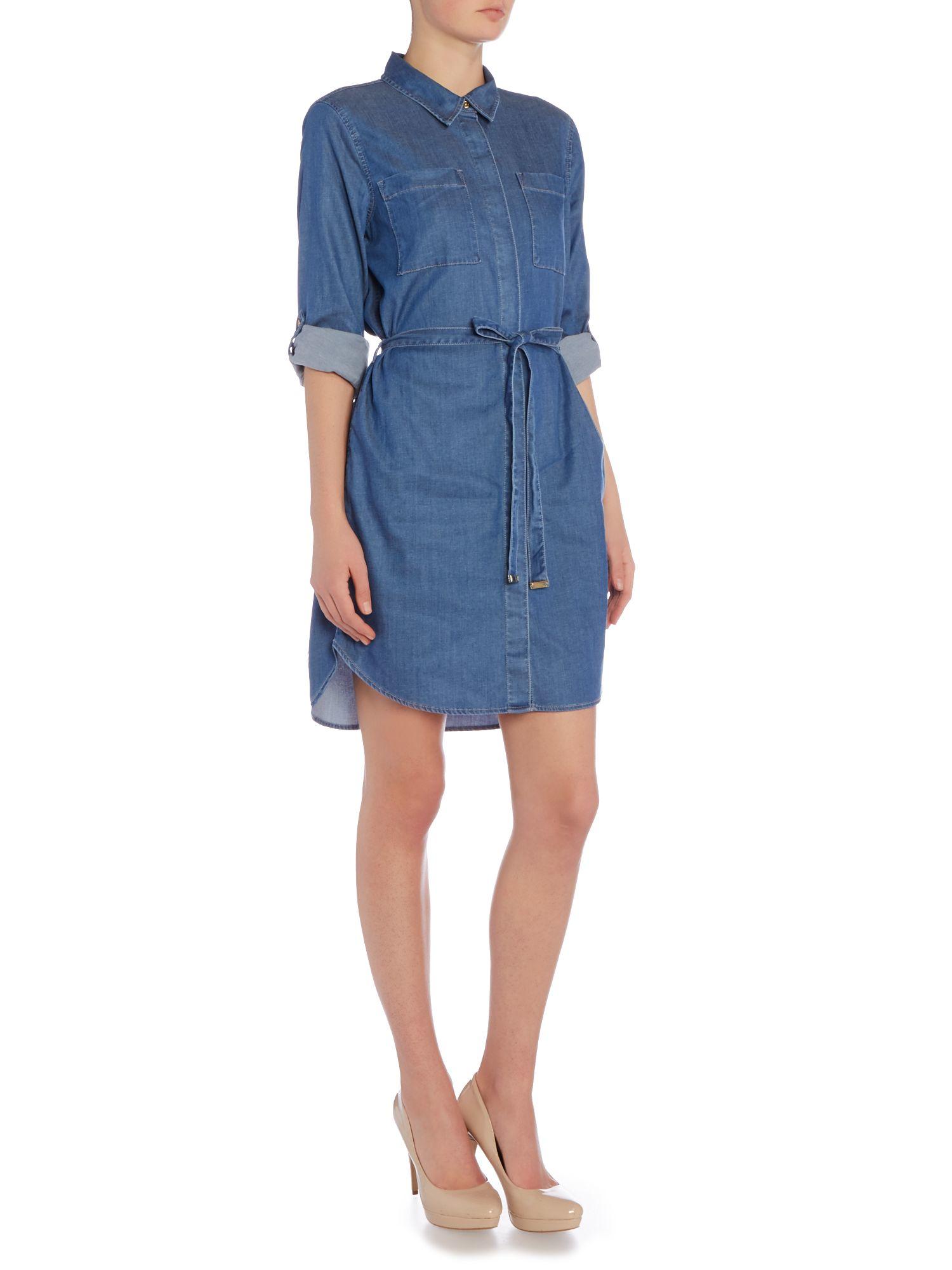 vince camuto belted denim dress in blue lyst