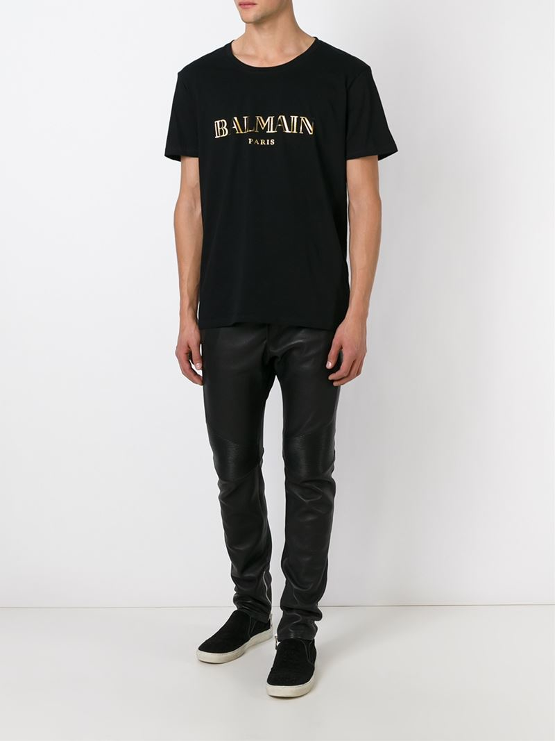 f3f6b90956 Balmain Logo Motif T-Shirt in Black for Men - Lyst