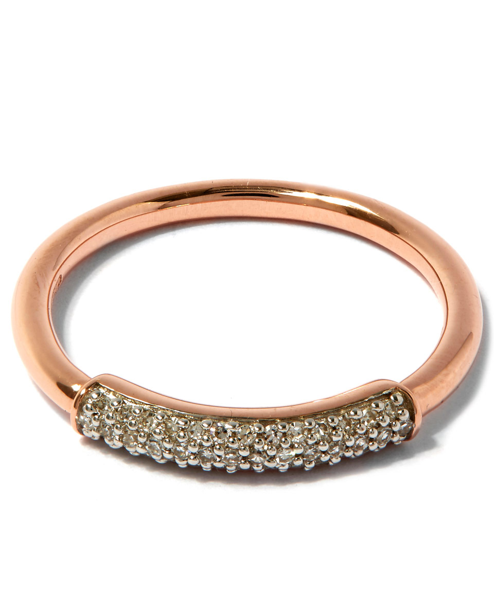 lyst monica vinader rose gold plated stellar diamond stacking ring in pink. Black Bedroom Furniture Sets. Home Design Ideas