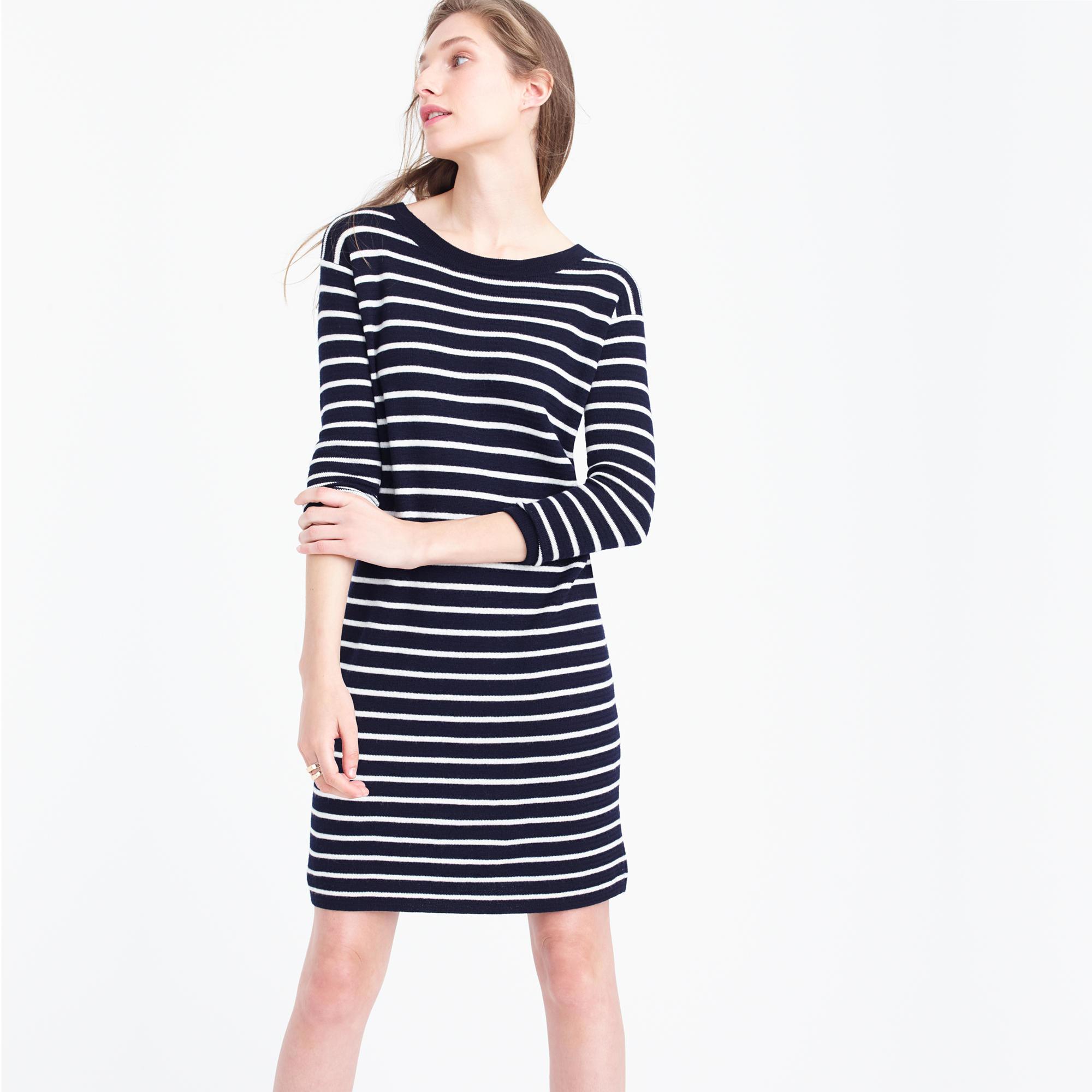 3603f522f7fa Lyst - J.Crew Merino Striped Sweater-dress in Blue