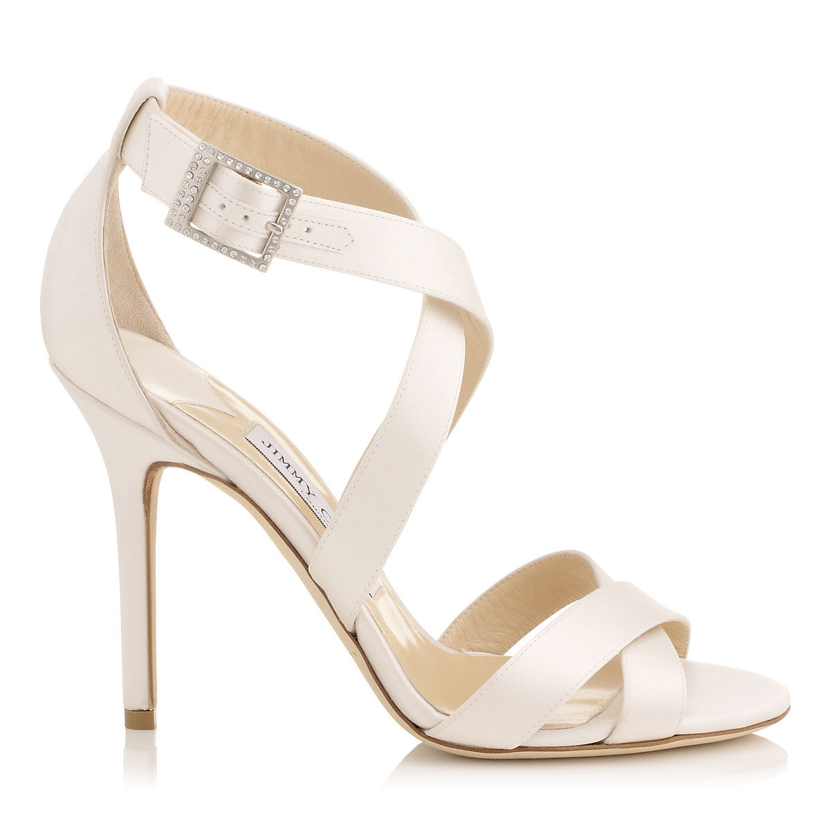 c6fa710c184 Jimmy Choo Lottie Ivory Satin Strappy Sandals in Pink - Lyst