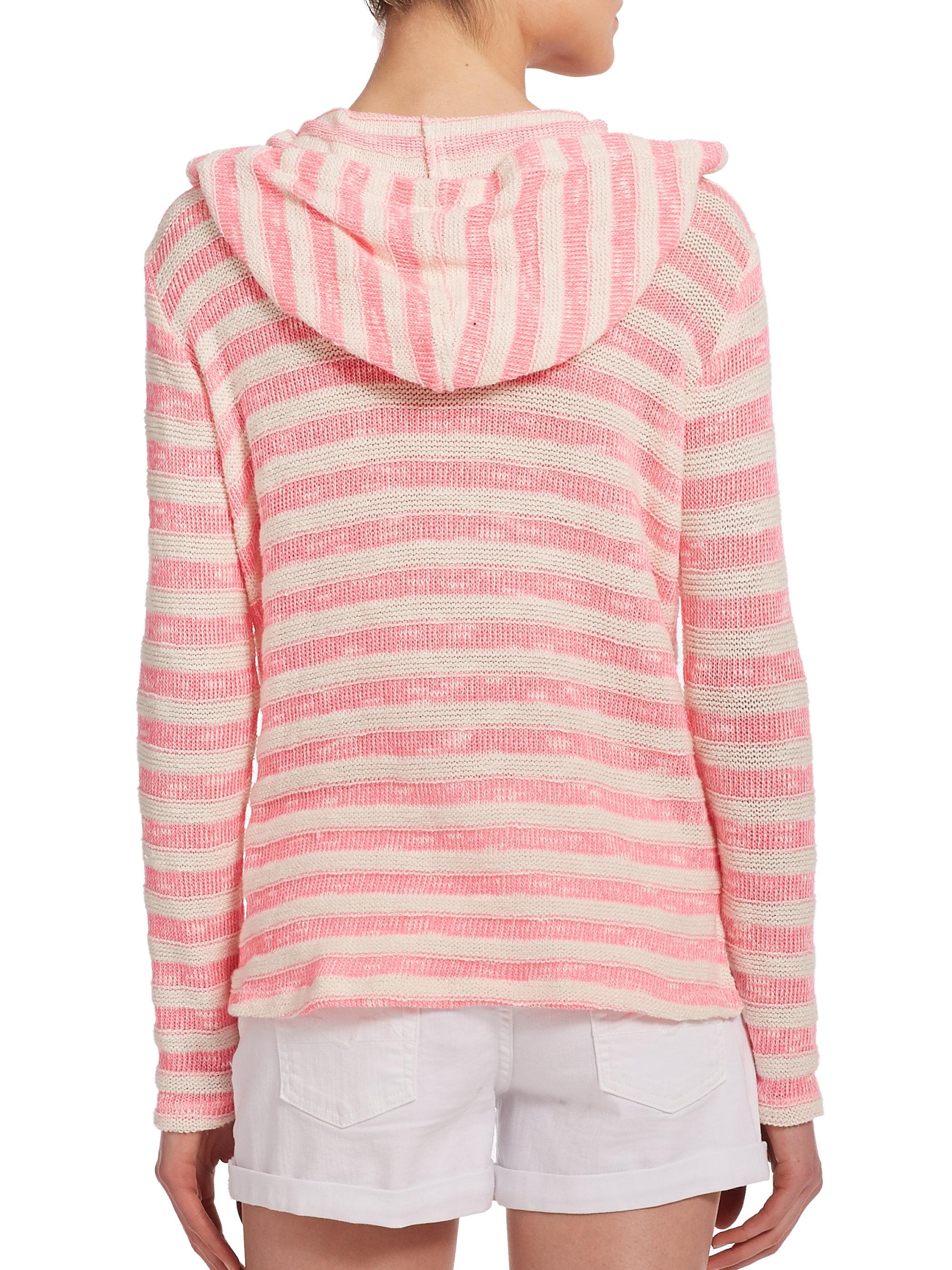 Splendid Ohana Striped Hoodie Sweater in Pink | Lyst