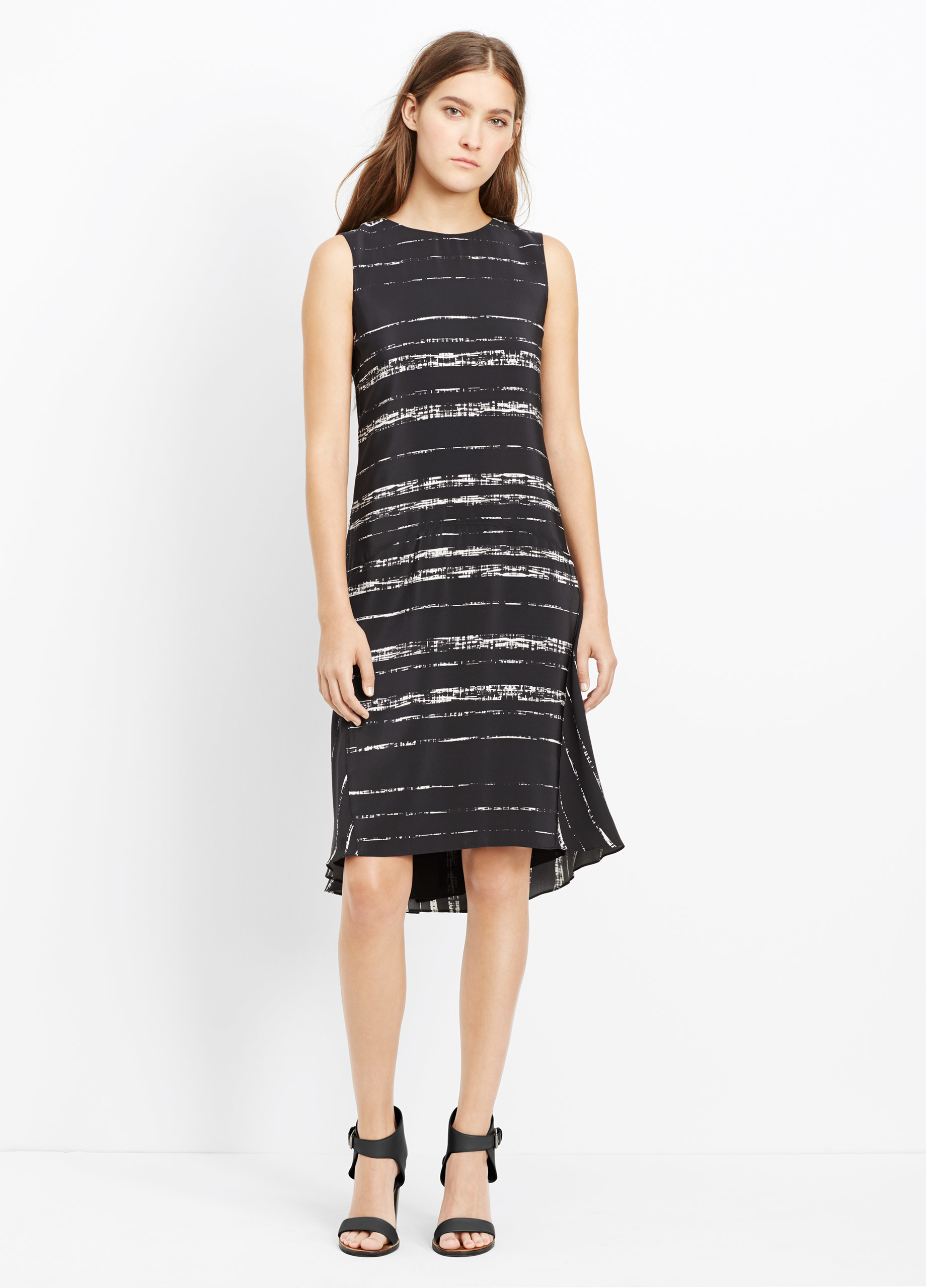 Vince Silk Shadow Stripe Double Layer Sleeveless Dress In