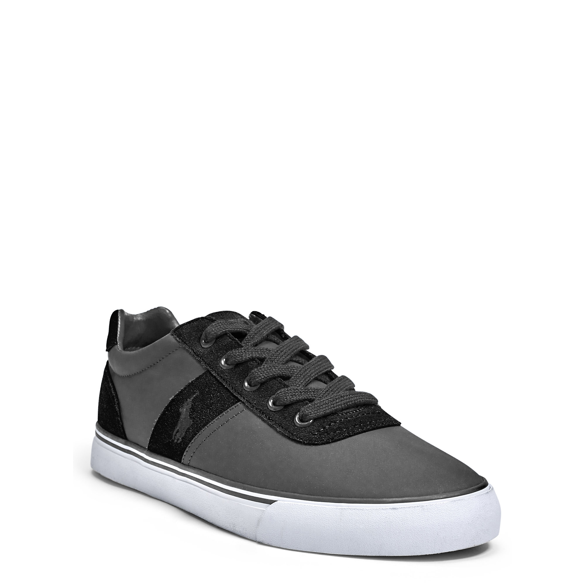polo ralph lauren hanford suede nylon sneaker in black for men lyst. Black Bedroom Furniture Sets. Home Design Ideas
