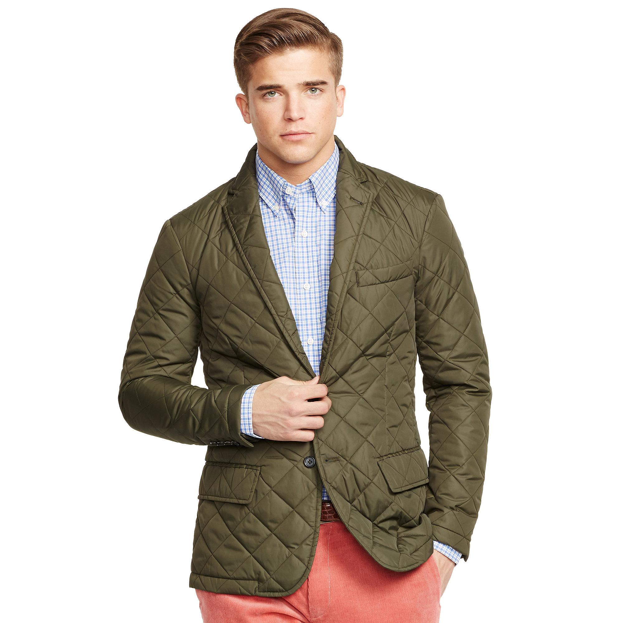 Polo ralph lauren quilted sport coat in green for men for Polo shirt with sport coat