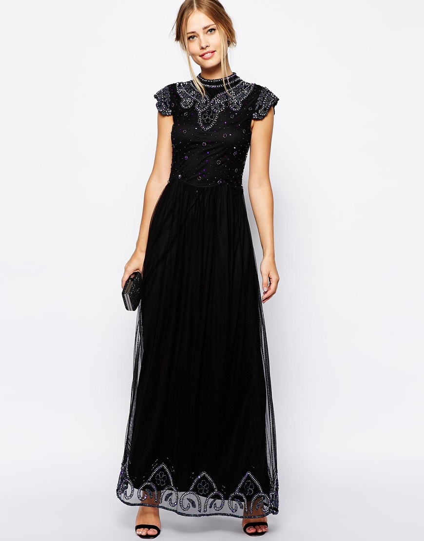 c339daa6e0 Lyst - Frock and Frill Embellished High Neck Maxi Dress With Mesh ...