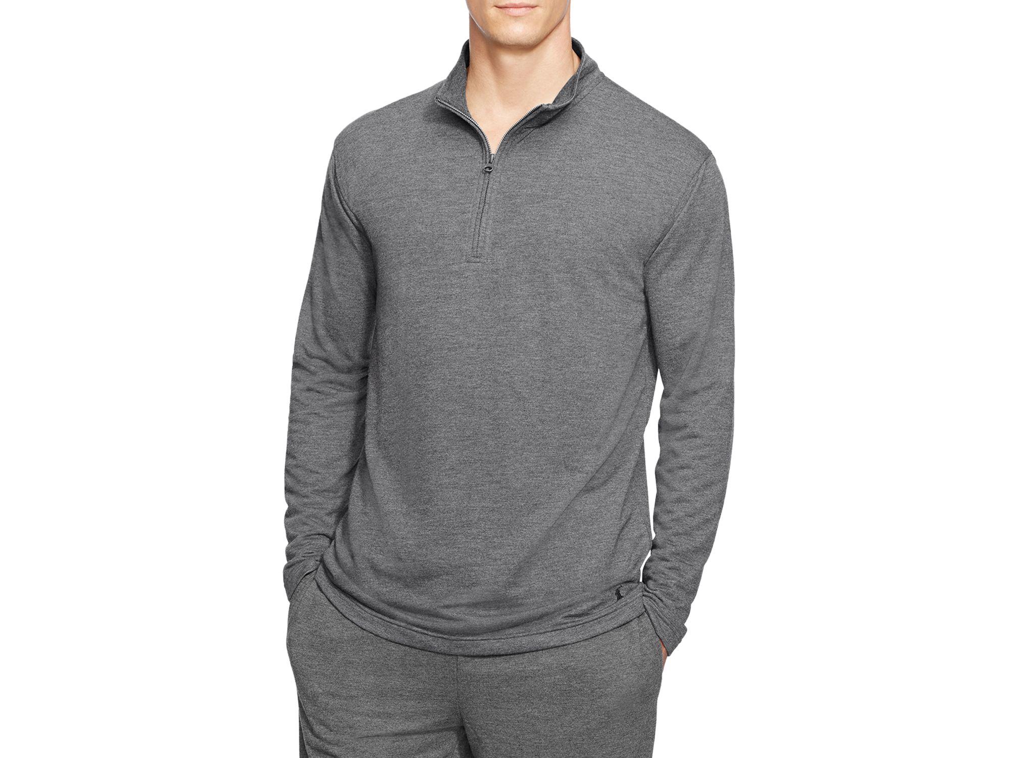 ralph lauren terry half zip pullover in gray for men. Black Bedroom Furniture Sets. Home Design Ideas