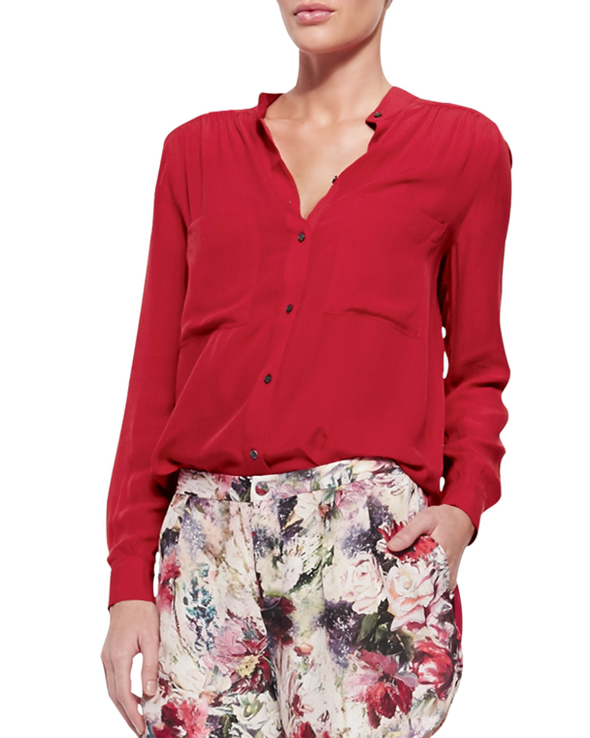 What Color Matches Red Blouse - Tie Blouse