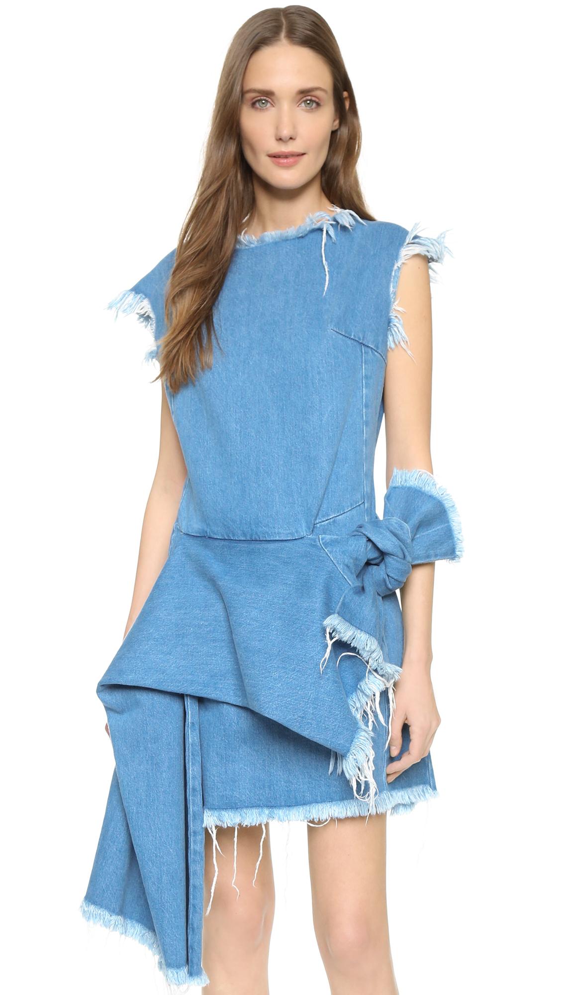 lyst  marques'almeida denim sleeveless dress  mid blue