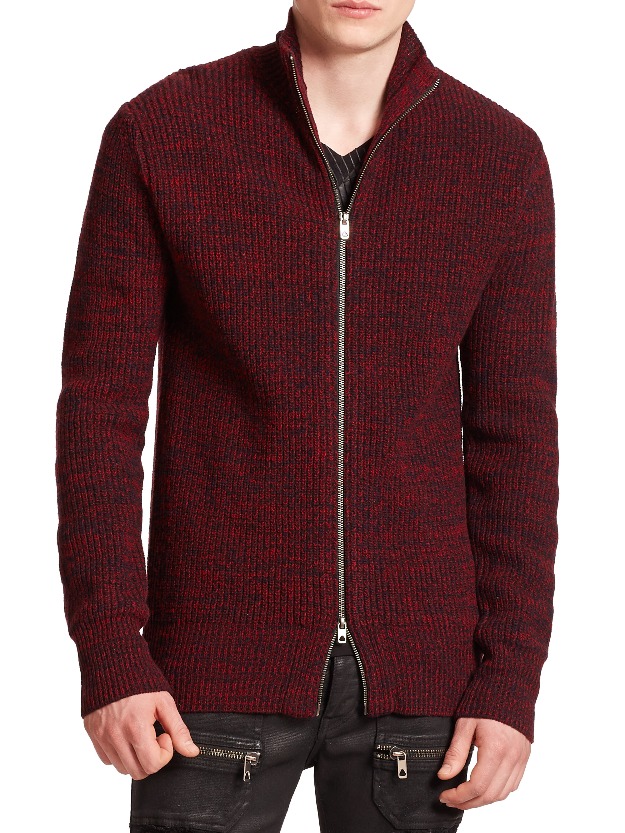Diesel black gold Wool Zip-front Sweater in Red for Men | Lyst