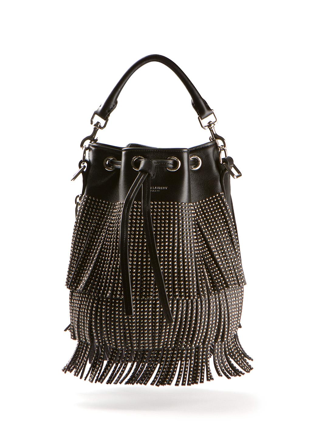 Emmanuel Small Studded Fringe Bucket Bag, Black