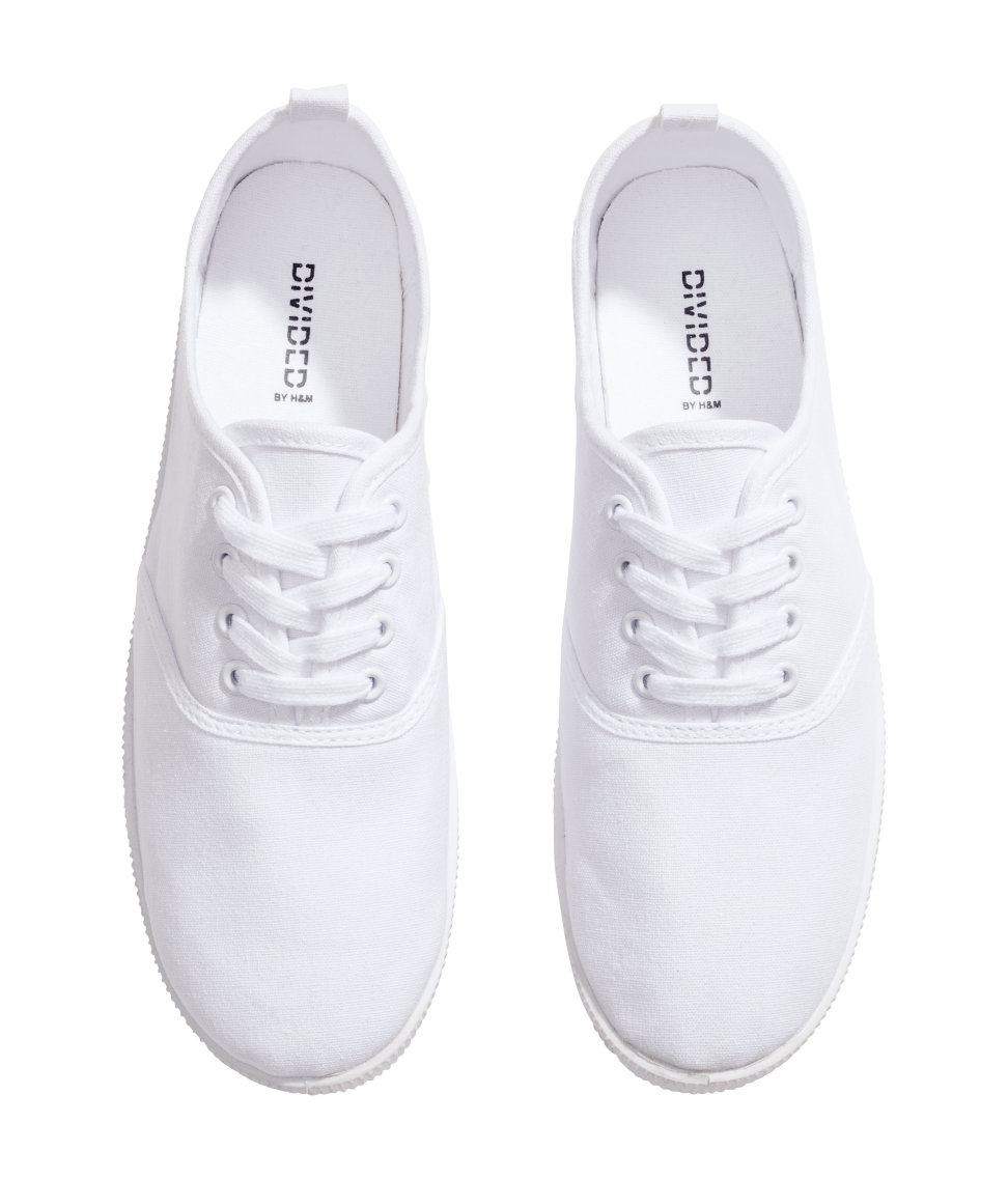 H\u0026M Canvas Sneakers in White - Lyst