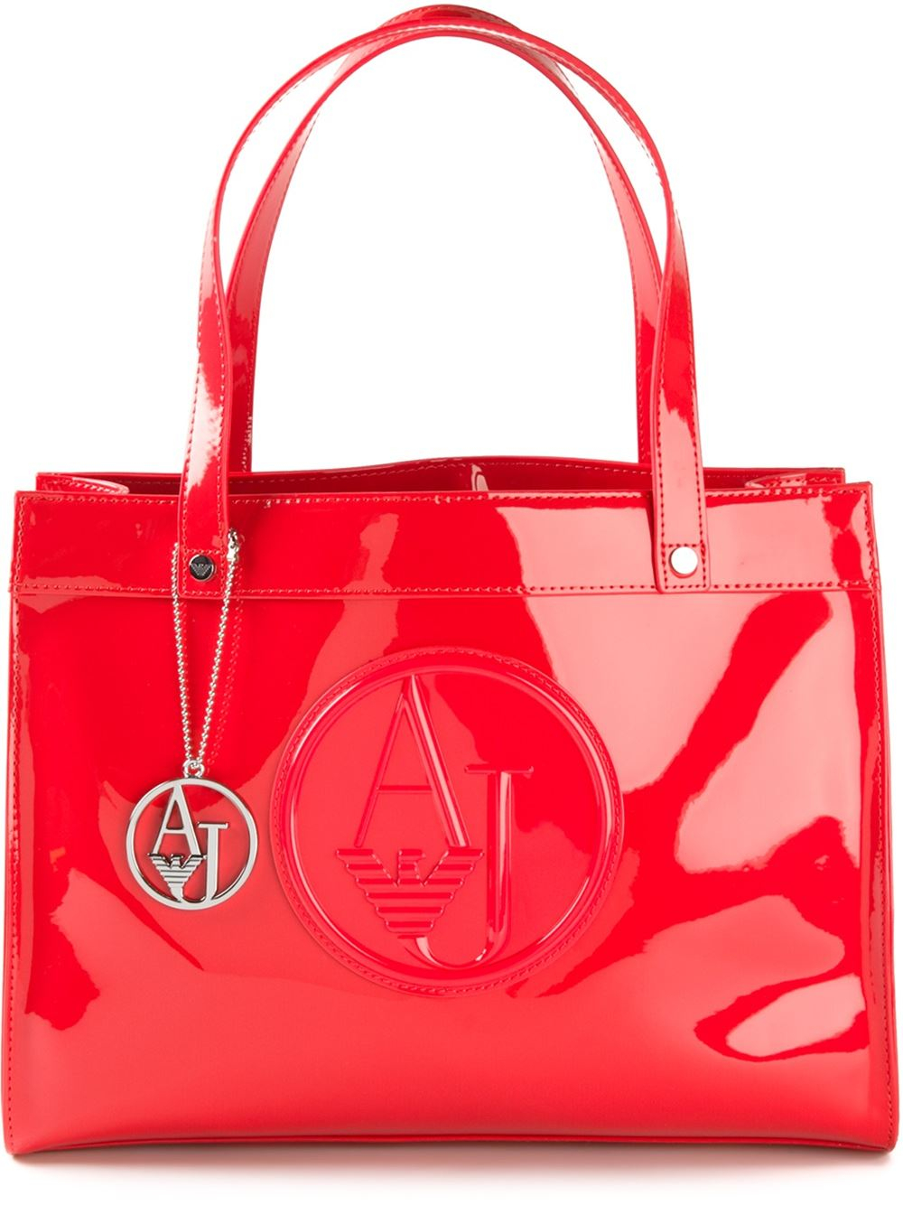 Armani Jeans Logo Embossed Tote Bag In Red Lyst