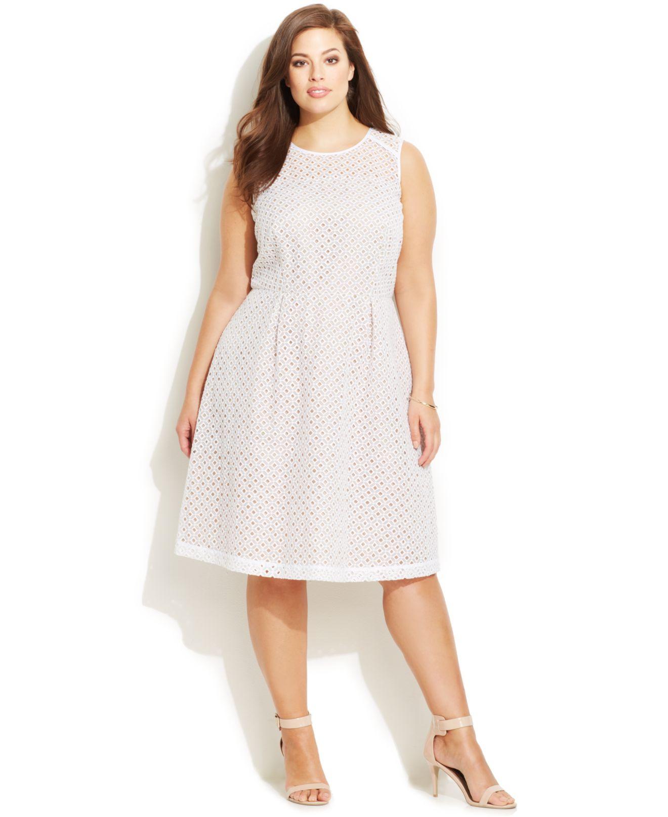 Plus Size Eyelet Illusion Dress