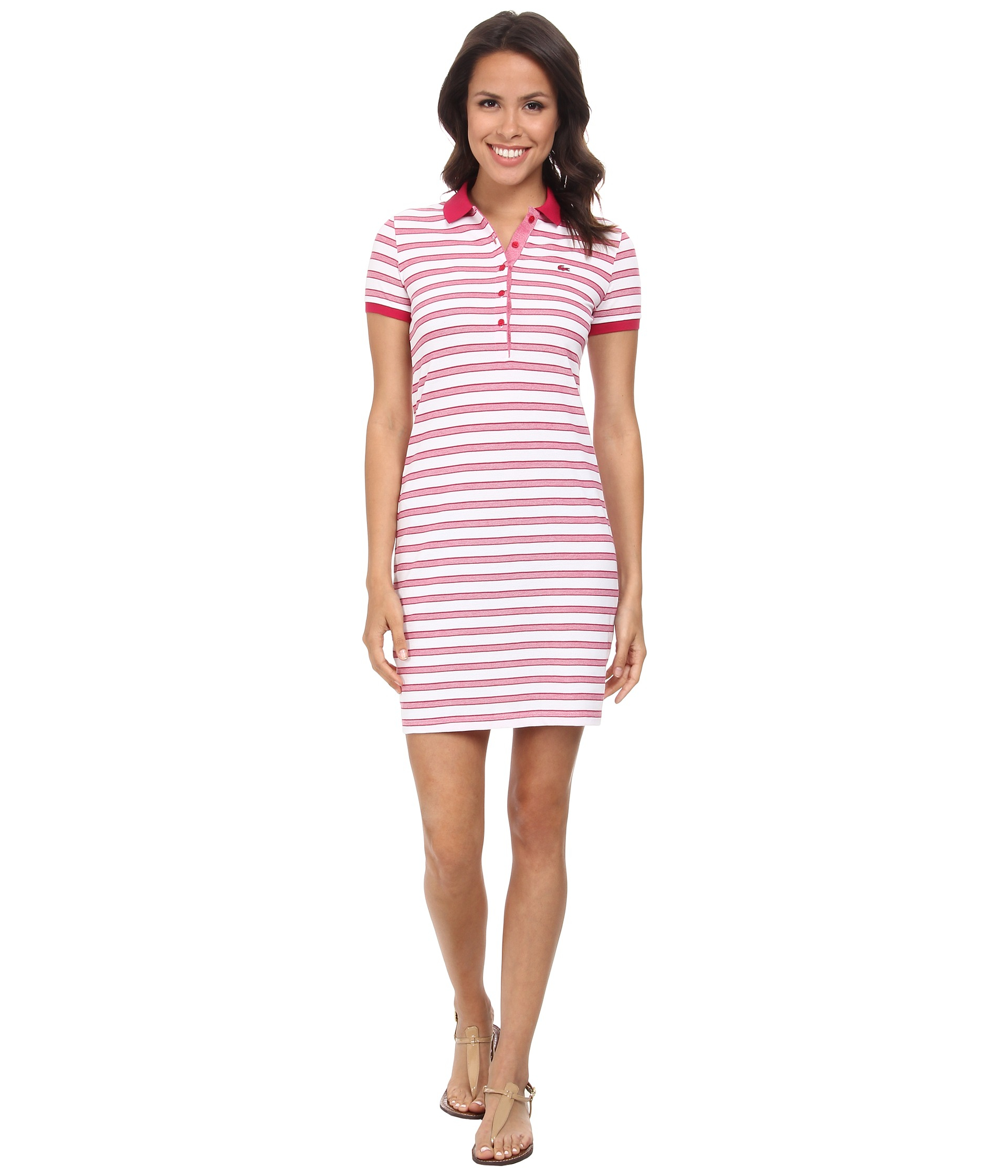 d05091a77e7014 Lyst - Lacoste Short Sleeve Stripe Pique Polo Dress in Red