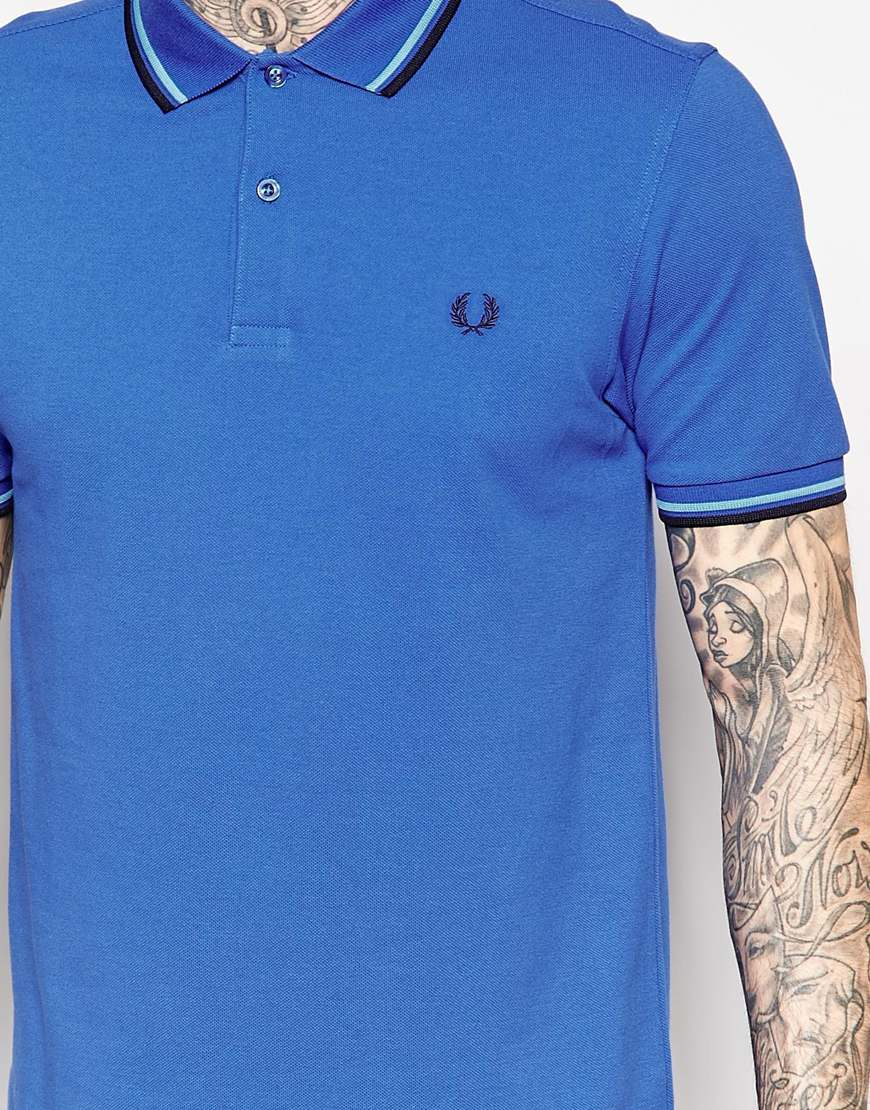 Stussy Polo Shirt With Tipping Slim Fit In Blue For Men Lyst