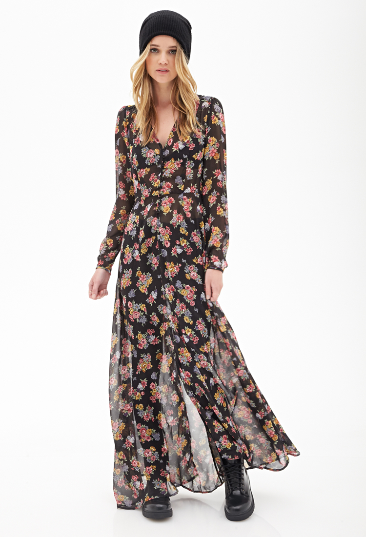 Forever 21 Floral Chiffon Maxi Dress In Pink Lyst
