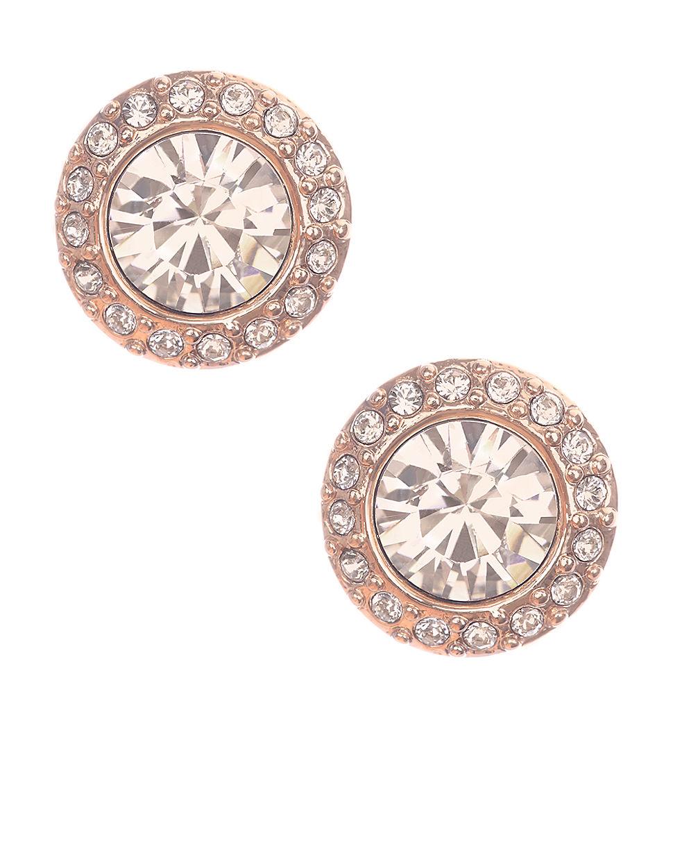 givenchy rose goldtone and swarovski crystal stud earrings. Black Bedroom Furniture Sets. Home Design Ideas