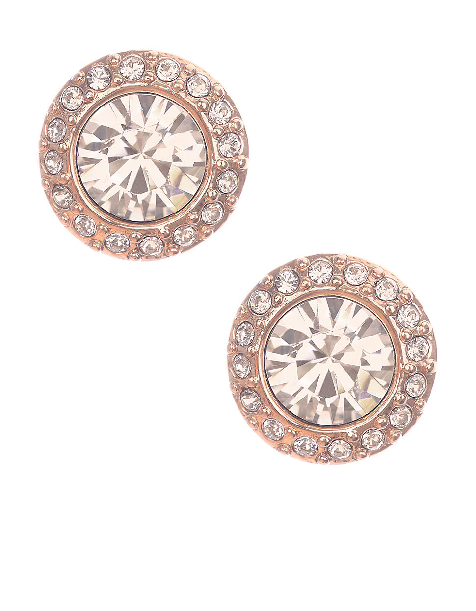 Rose Goldtone And Swarovski Crystal Stud Earrings