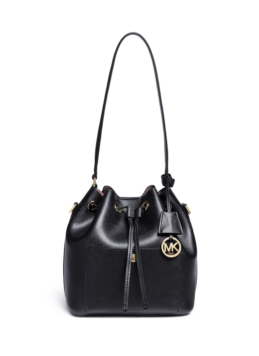 prada bags with prices - Michael kors Greenwich Saffiano-Leather Bucket Bag in Black | Lyst