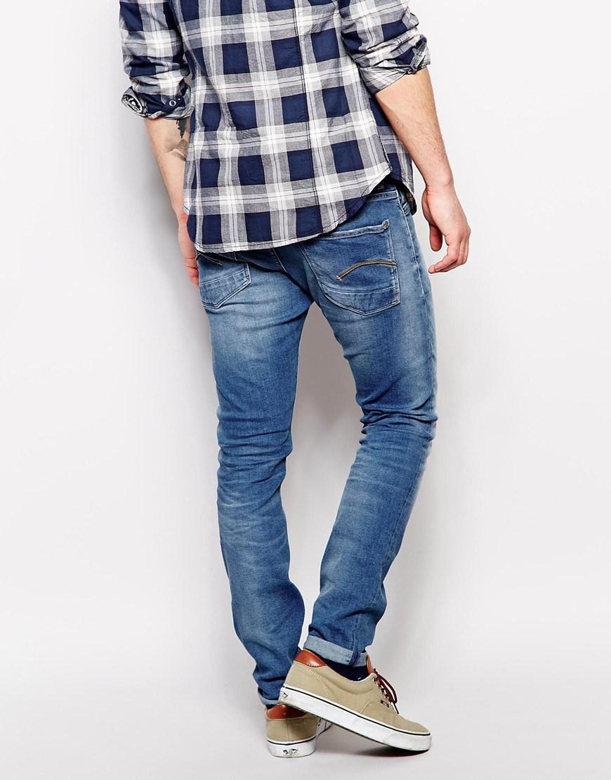 lyst g star raw g star jeans defend super slim fit mid aged super stretch in blue for men. Black Bedroom Furniture Sets. Home Design Ideas