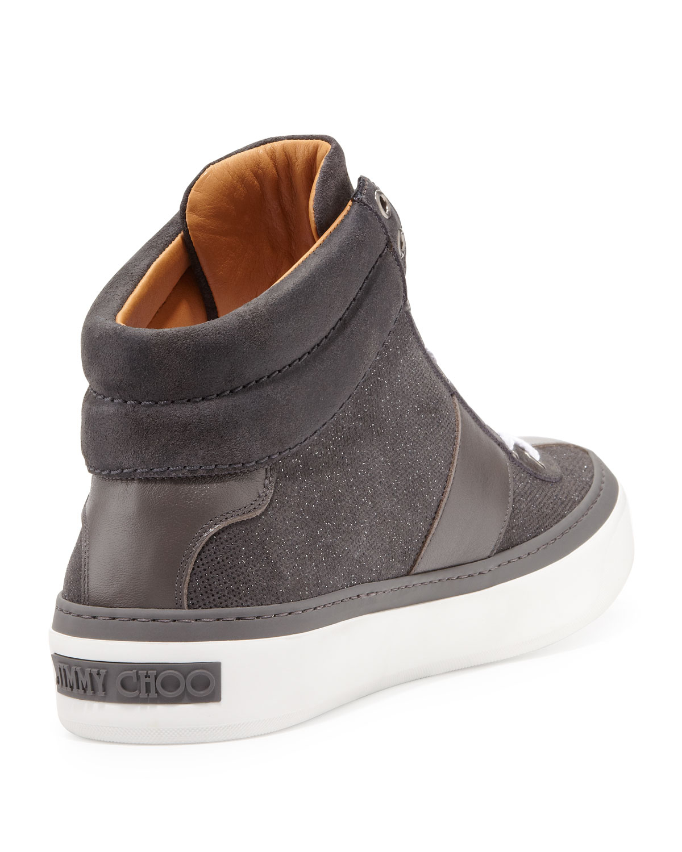 831f2493cf2 Lyst - Jimmy Choo Belgravia Glitter-suede Hi-top Sneaker in Gray for Men