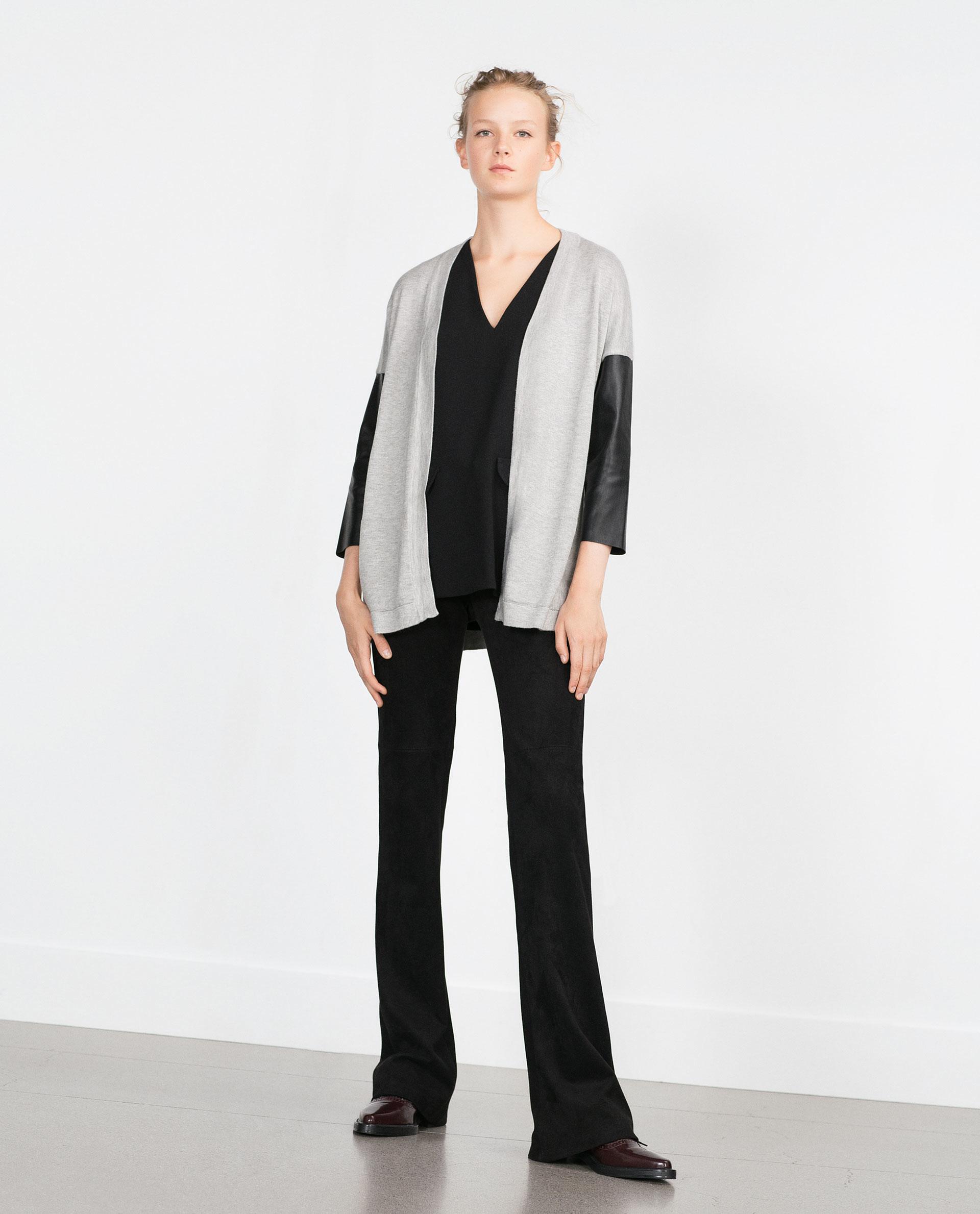 Zara jacket with leather sleeves
