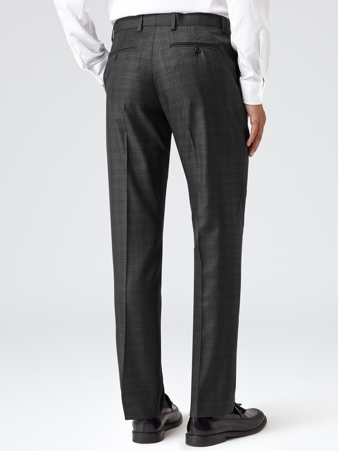 Reiss Wool Gilstone Check Suit Trousers in Charcoal (Grey) for Men