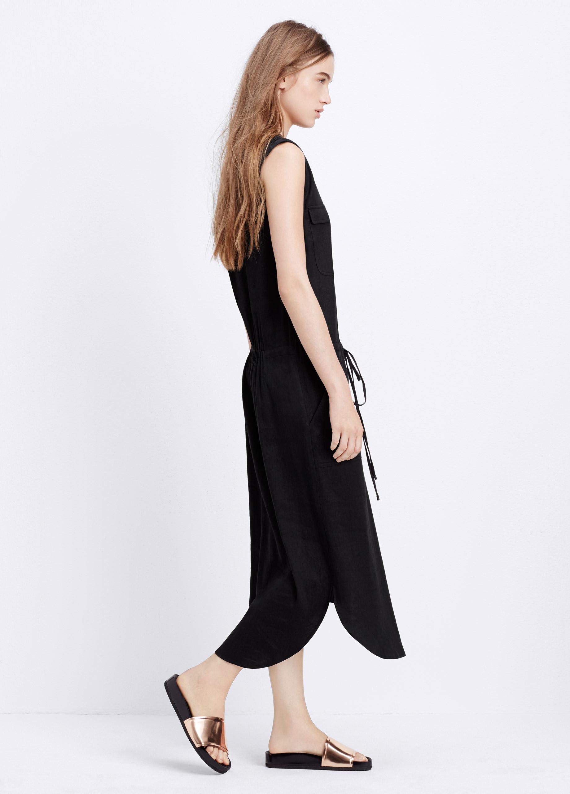 Black drawstring waist dresses
