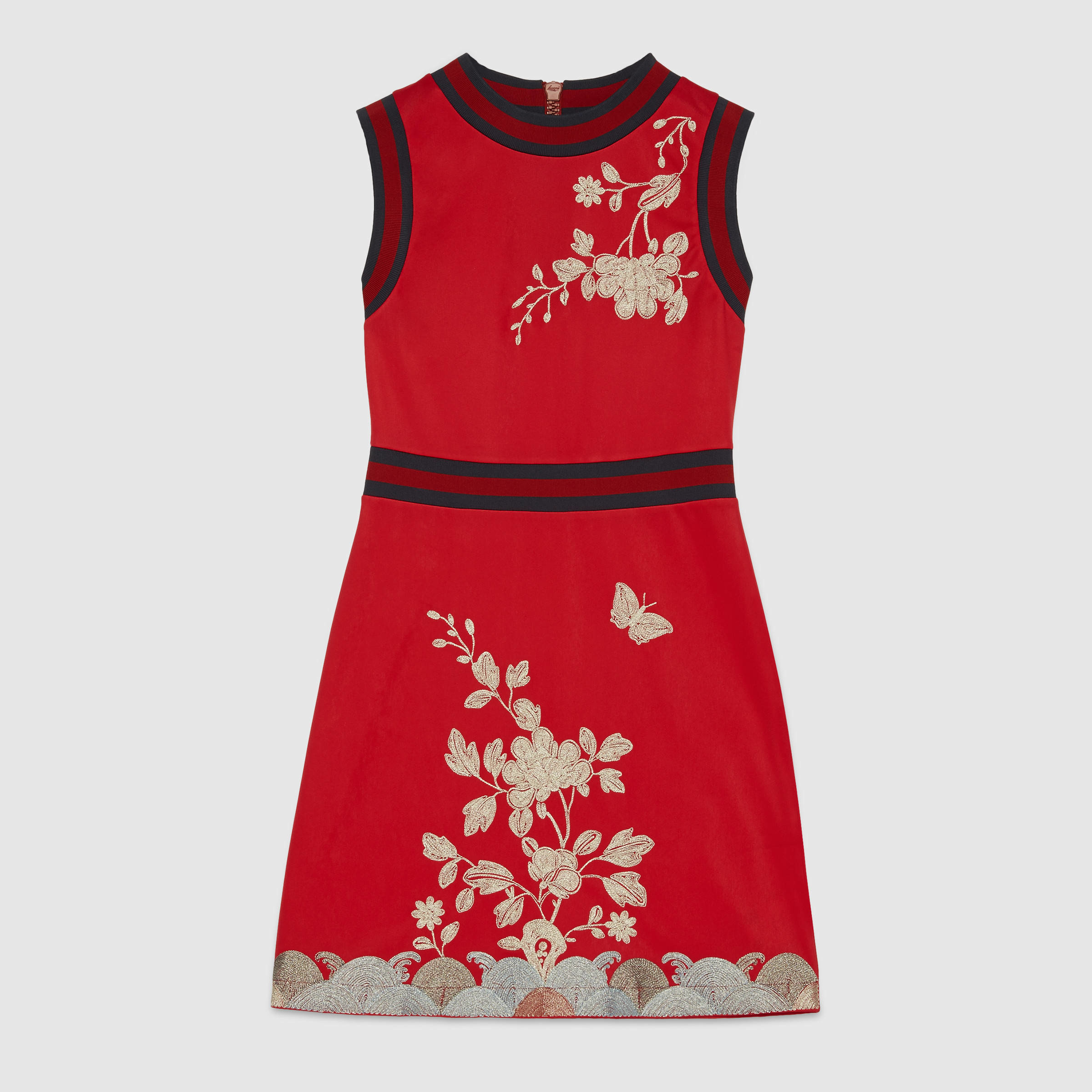 Gucci embroidered cotton jersey dress in red lyst