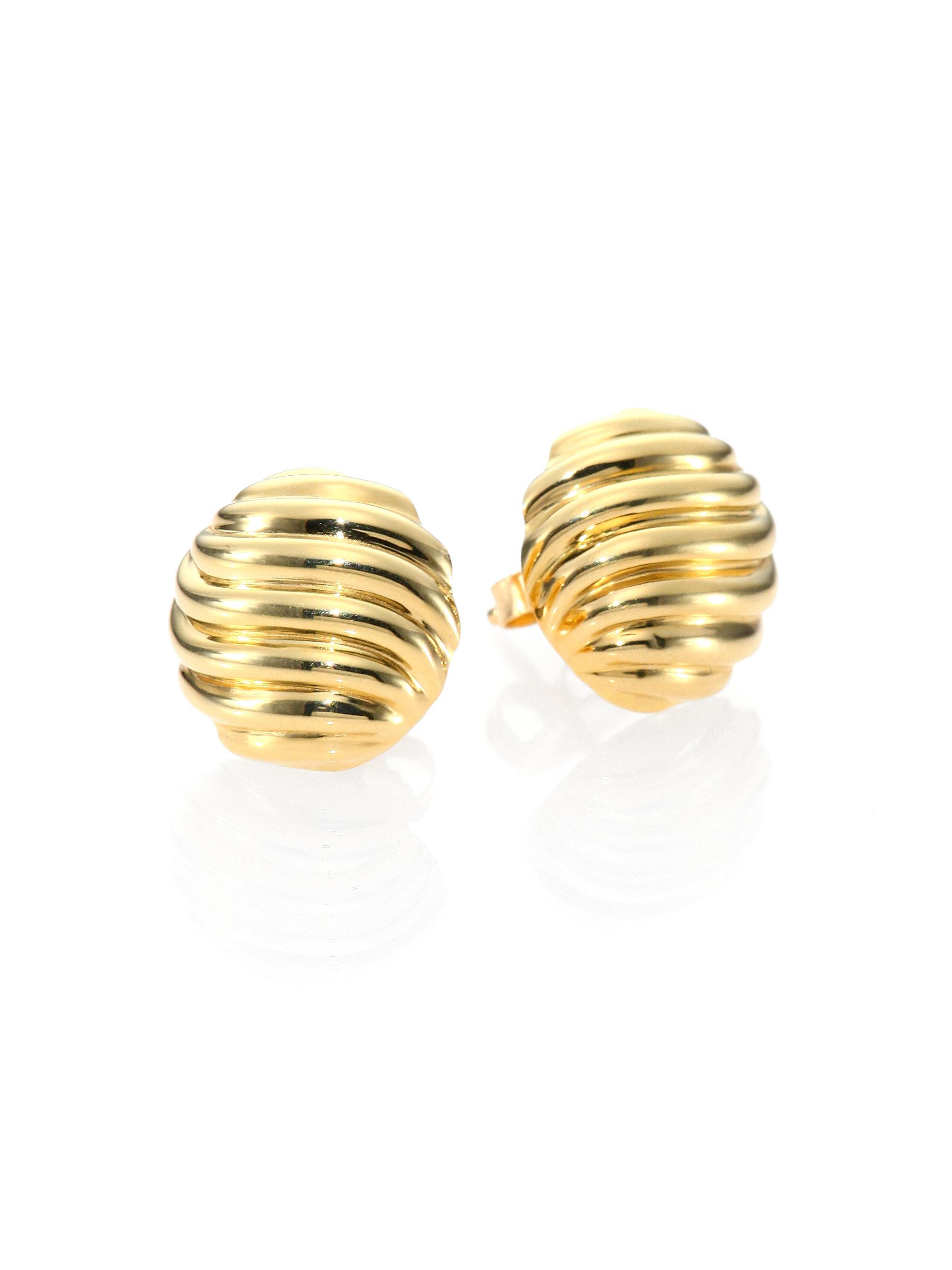 david yurman 18k yellow gold cable stud earrings in gold