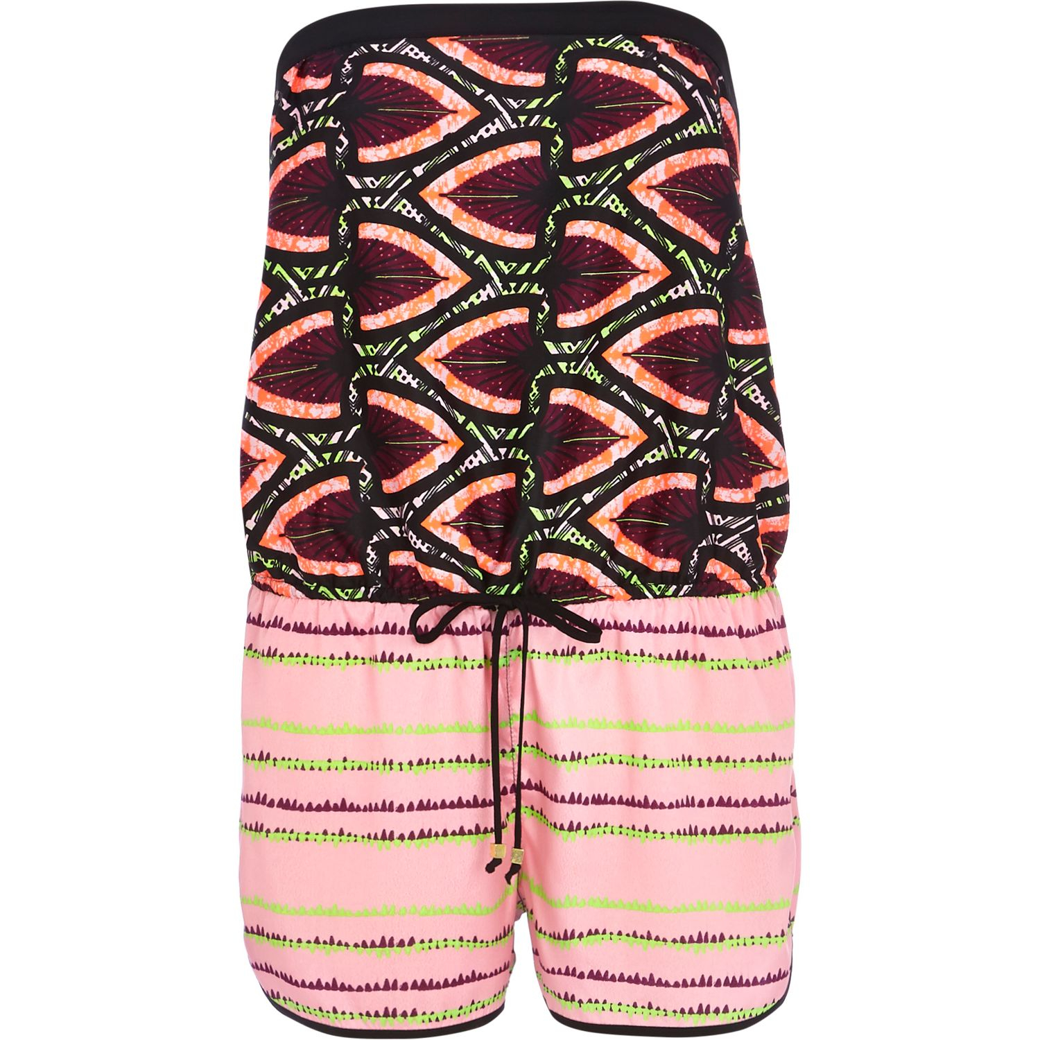 River island Dark Red Tribal Print Bandeau Playsuit in ...