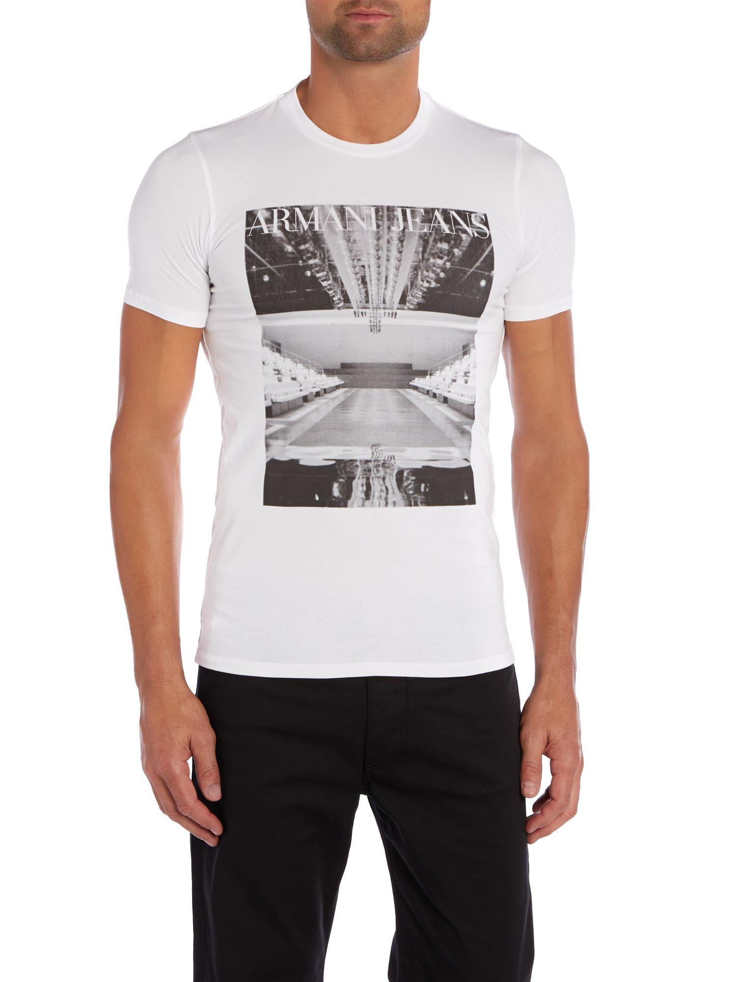 armani jeans white armani catwalk print t shirt short sleeve t shirts. Black Bedroom Furniture Sets. Home Design Ideas