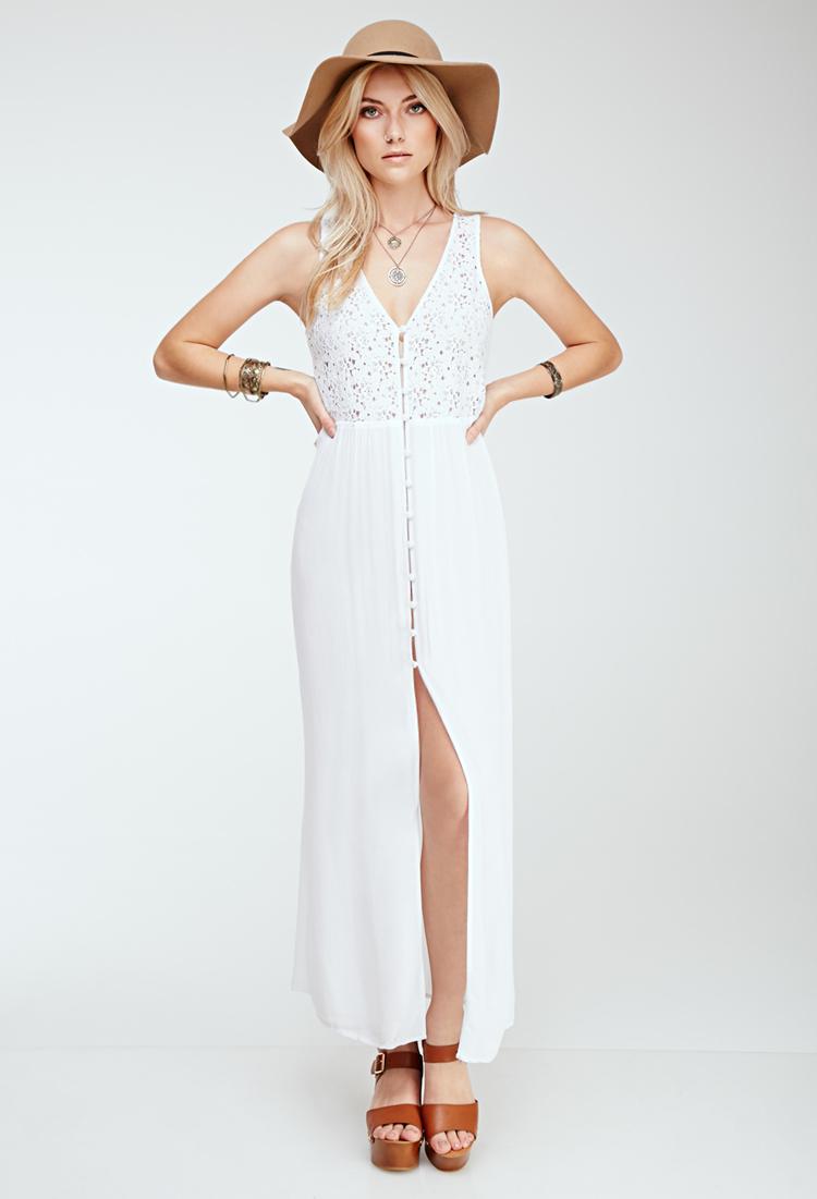 Forever 21 Crochet-paneled Maxi Dress in White | Lyst - photo #49