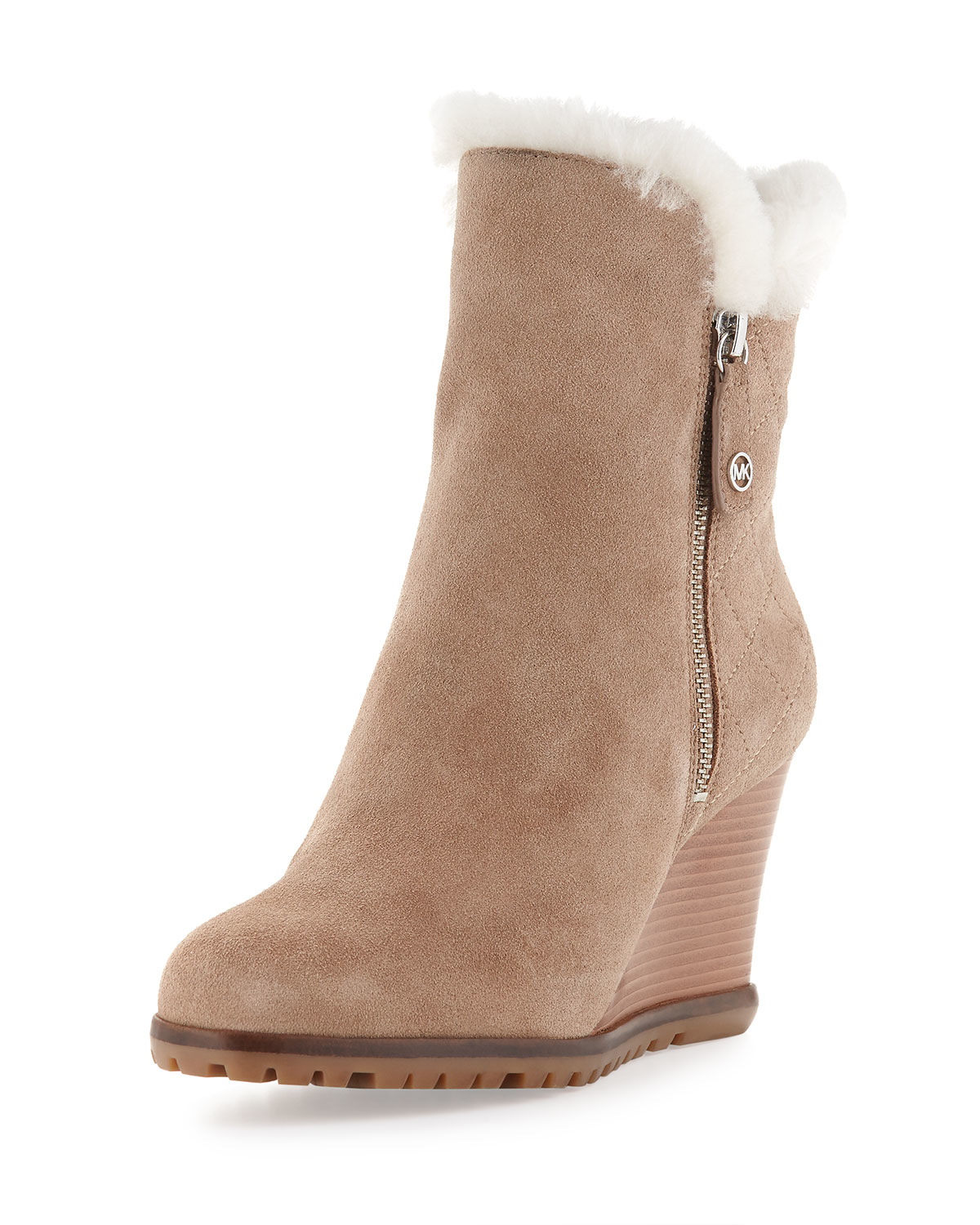 michael michael kors whitaker shearling lined wedge boots