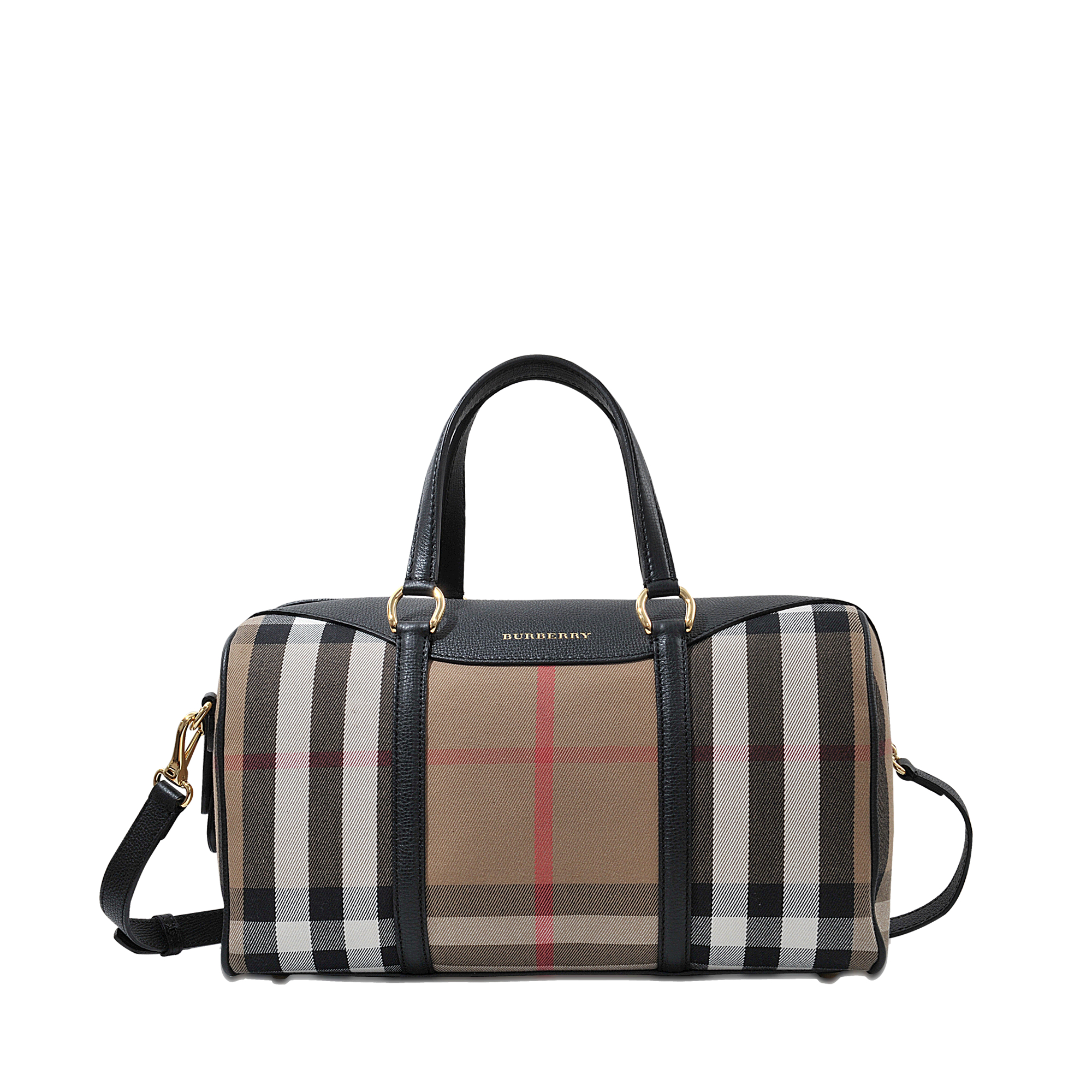 Lyst - Burberry Md Alchester House Check Bag in Black a47eac98cf