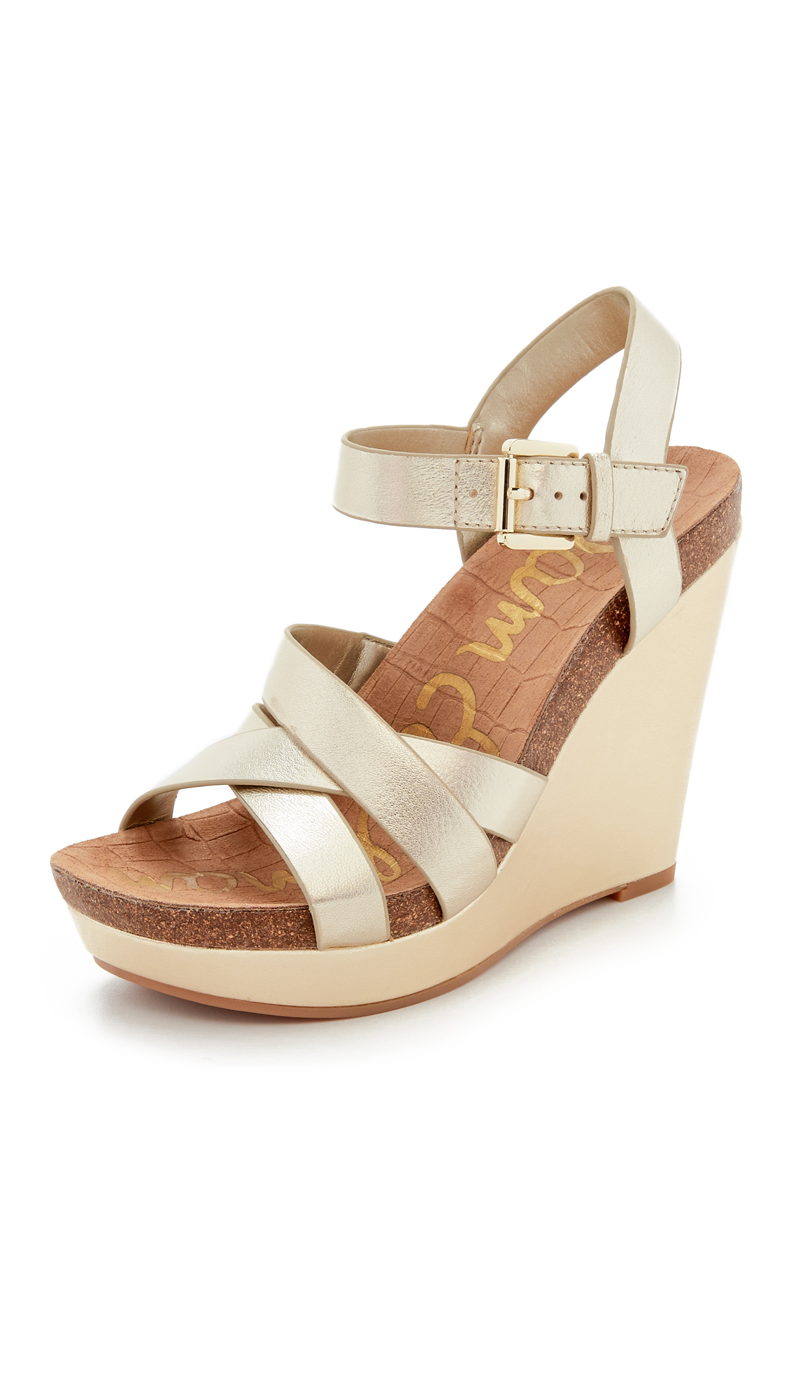 sam edelman nelson wedge sandals in metallic lyst