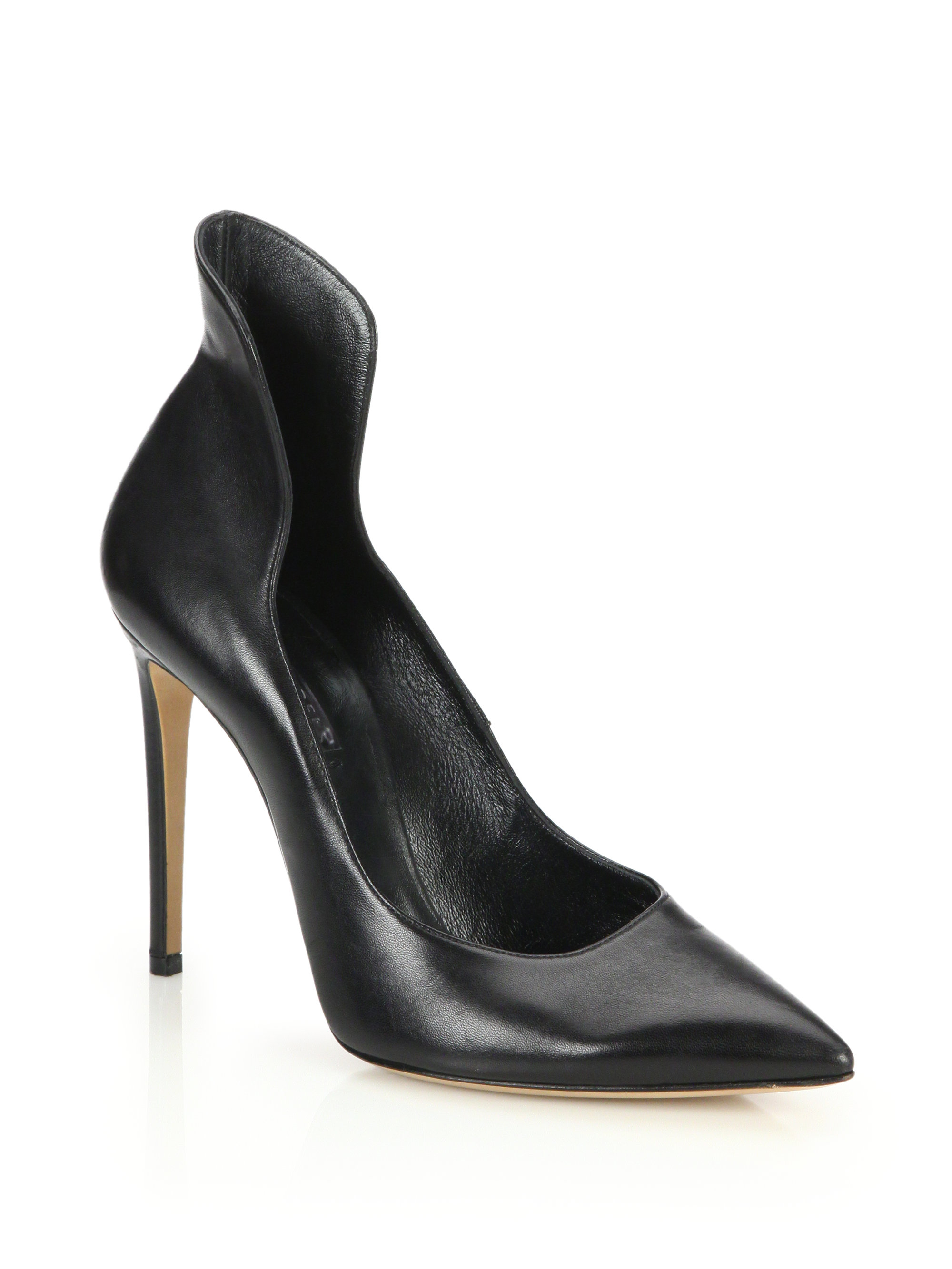 Lyst Casadei Peplum Back Leather Pumps In Black
