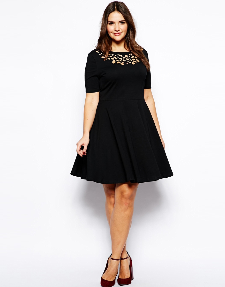 Plus Size Laser Cut Skater Dress