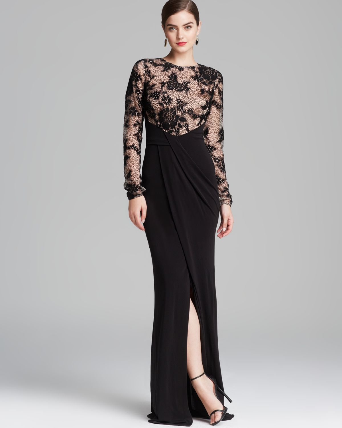 David Meister Gown Lace Illusion In Black Lyst