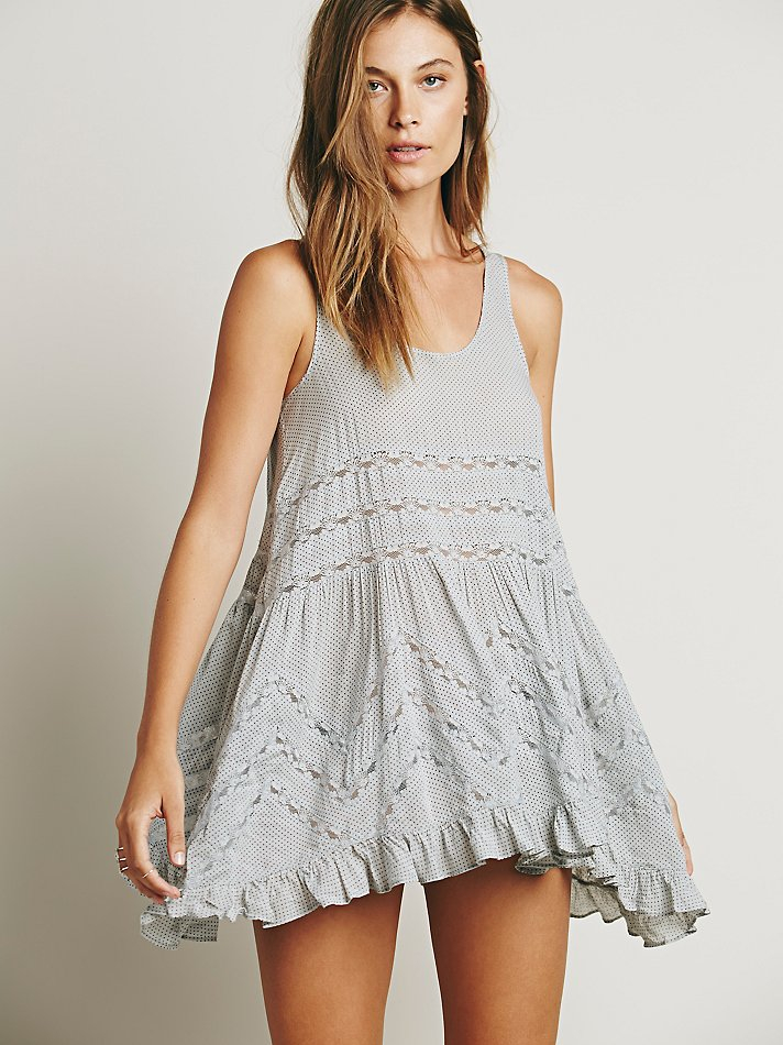 Lyst Free People Voile And Lace Trapeze Slip In Gray