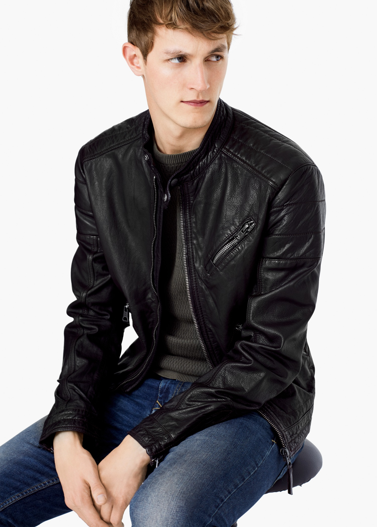 545e09c130d1 Lyst - Mango Leather Biker Jacket in Black for Men