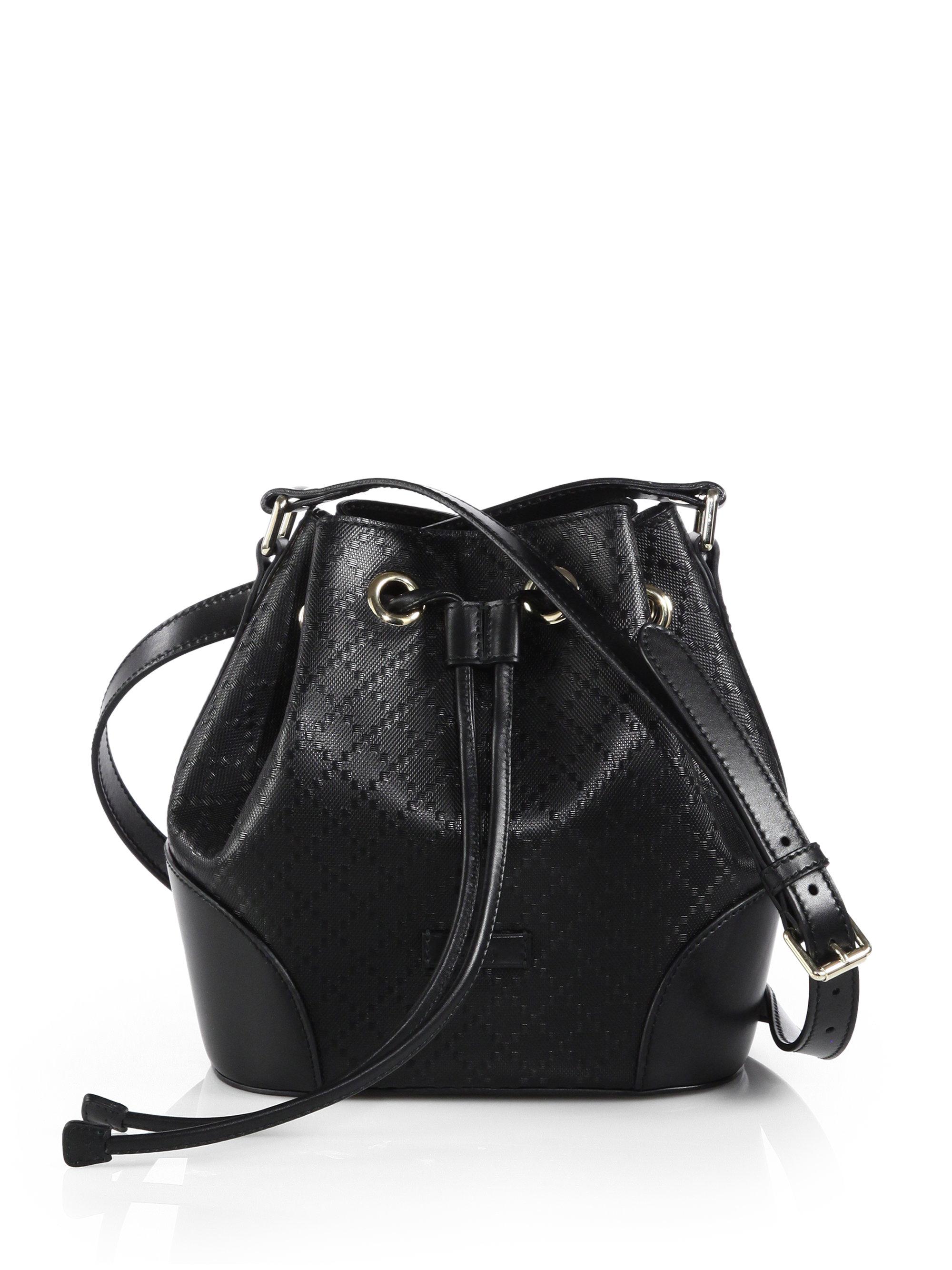 c0b687c00cb Lyst - Gucci Bright Diamante Leather Bucket Bag in Black