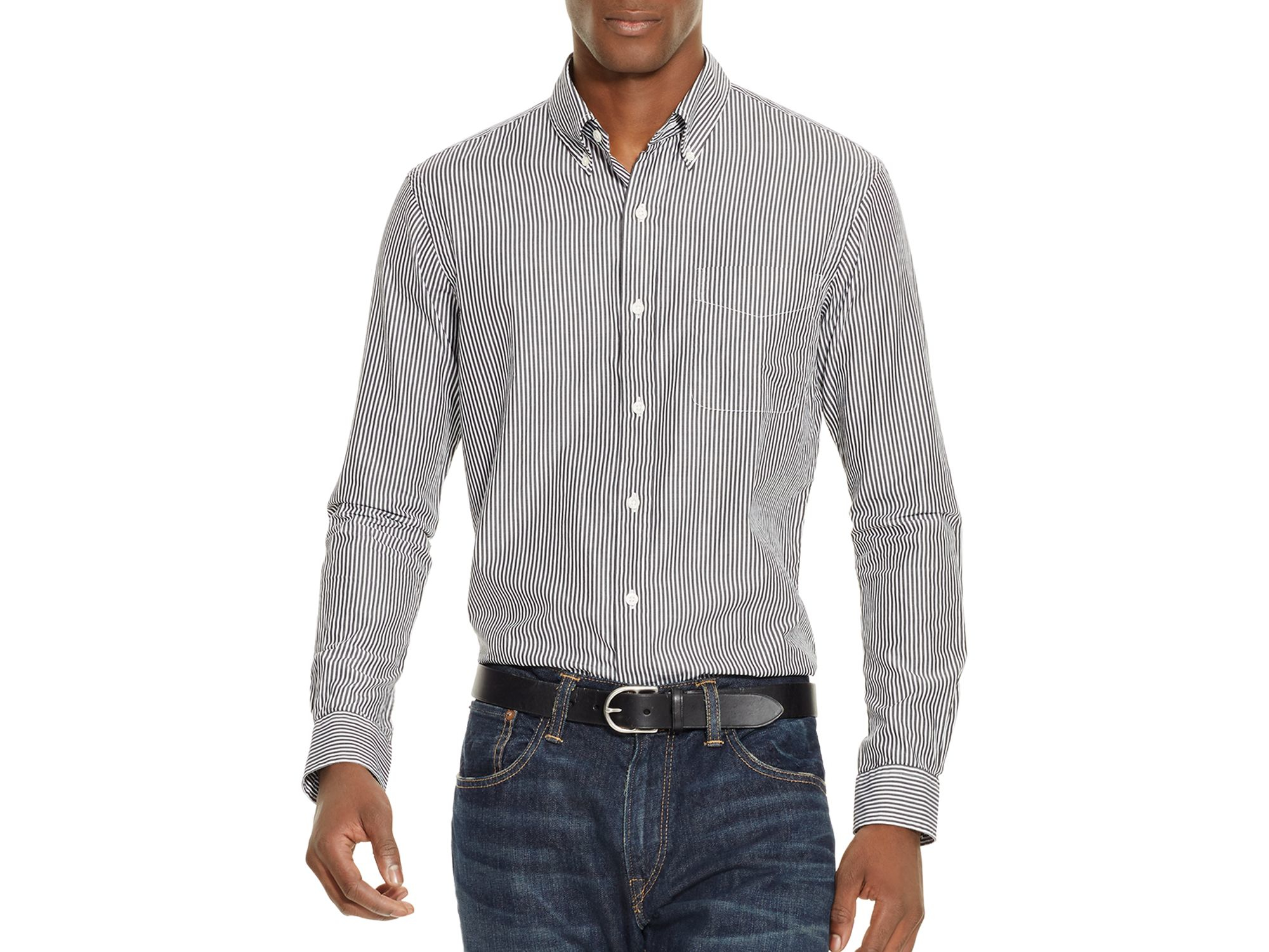 Lyst polo ralph lauren striped poplin slim fit button for Striped button down shirts for men