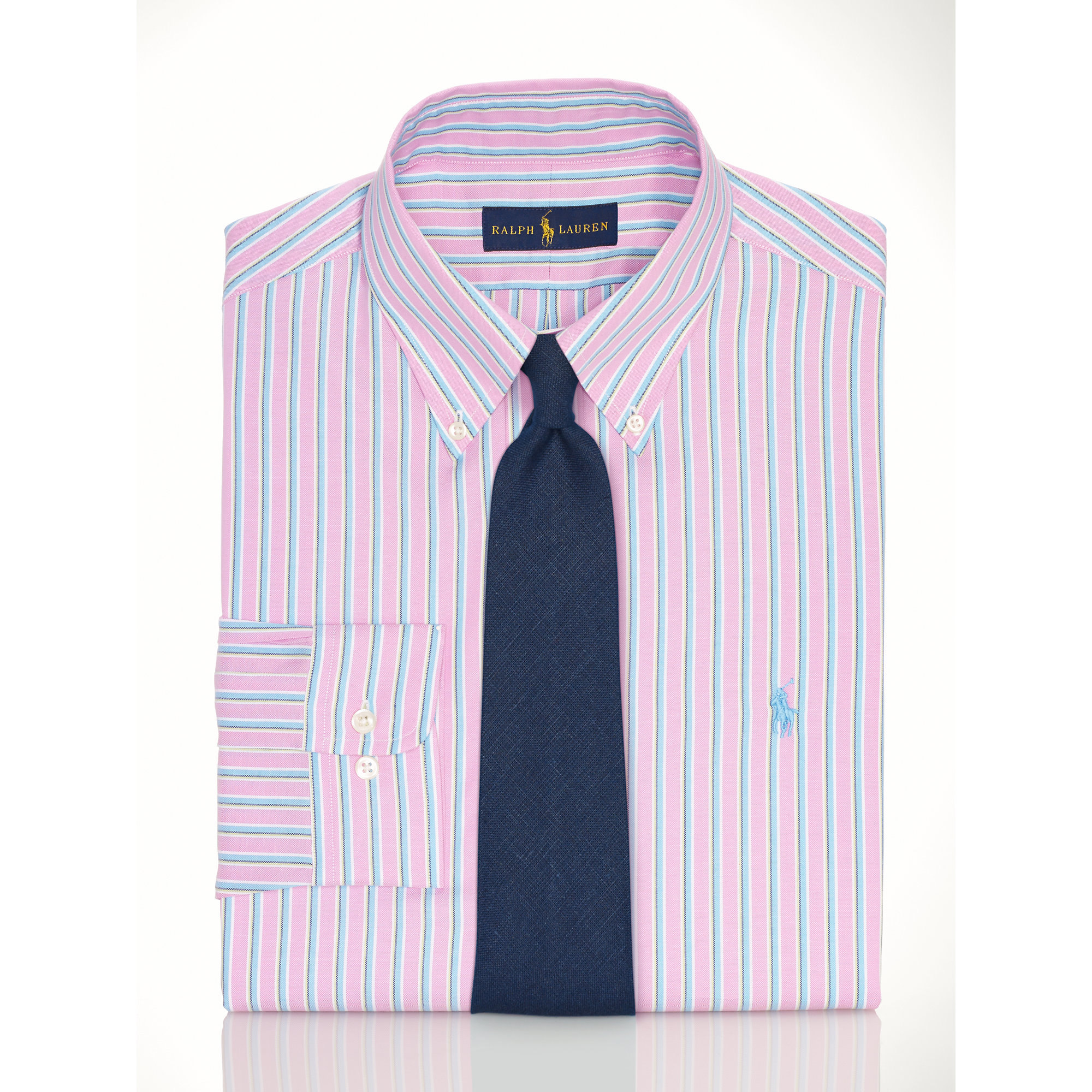Polo ralph lauren striped pinpoint oxford shirt in pink for Pink and white ralph lauren shirt